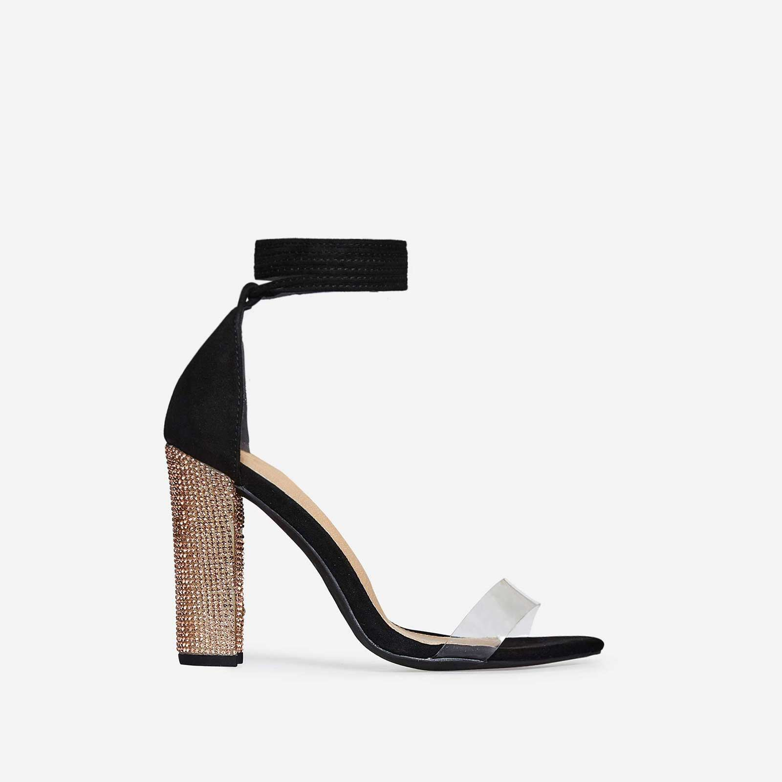 Harriet Lace Up Rose Gold Diamante Heel In Black Faux Suede
