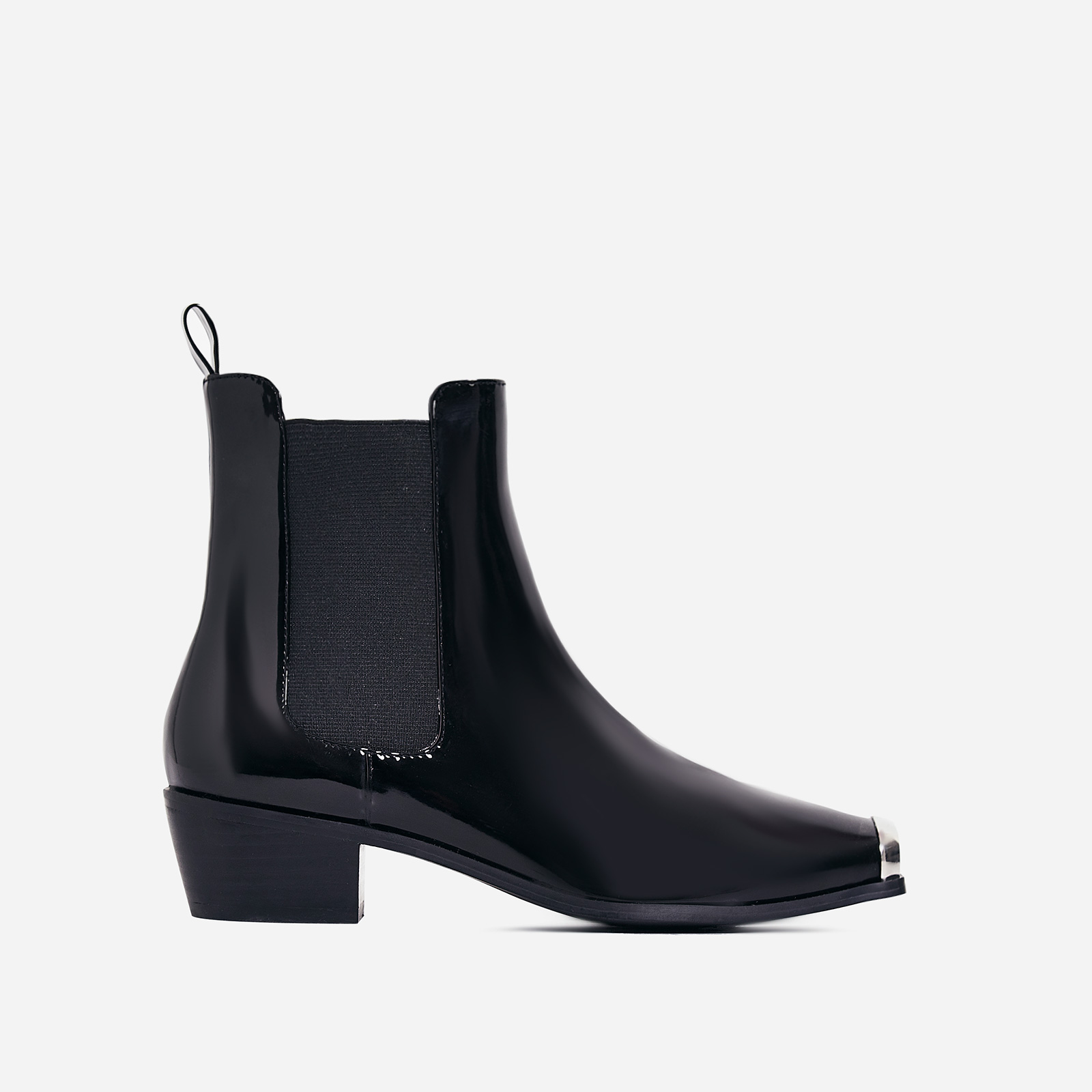 Hauser Toe Cap Western Ankle Boot In Black Patent