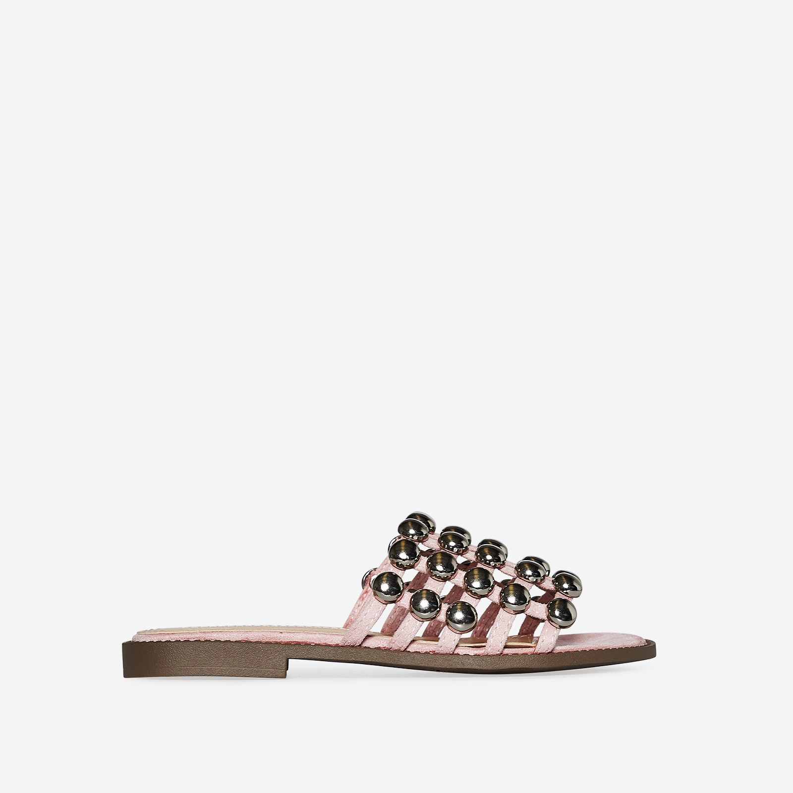 Hazel Silver Studded Detail Slider In Blush Faux Suede