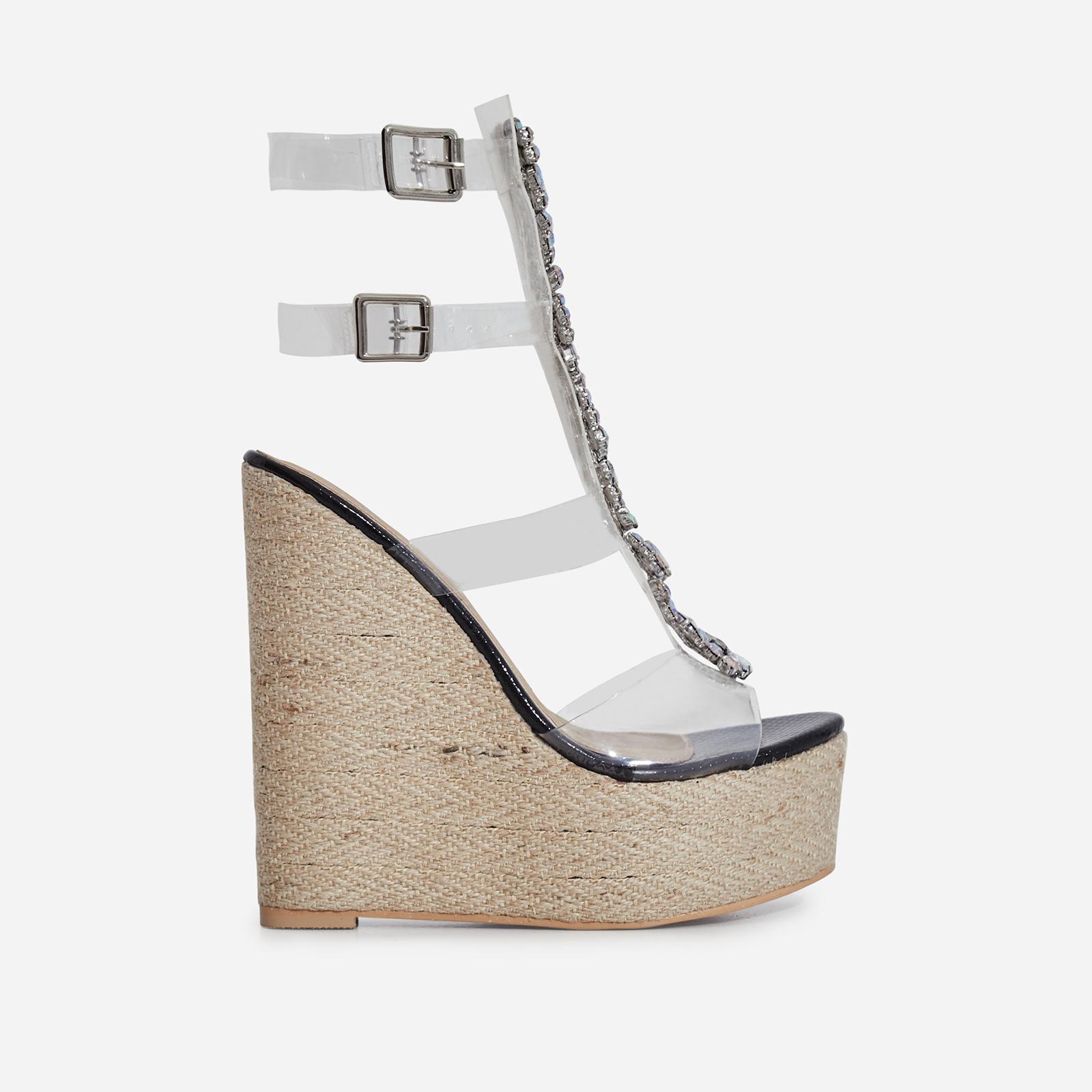 Heir Jewel Embellished Perspex Platform Espadrille Wedge Heel In Black Snake Print Faux Leather
