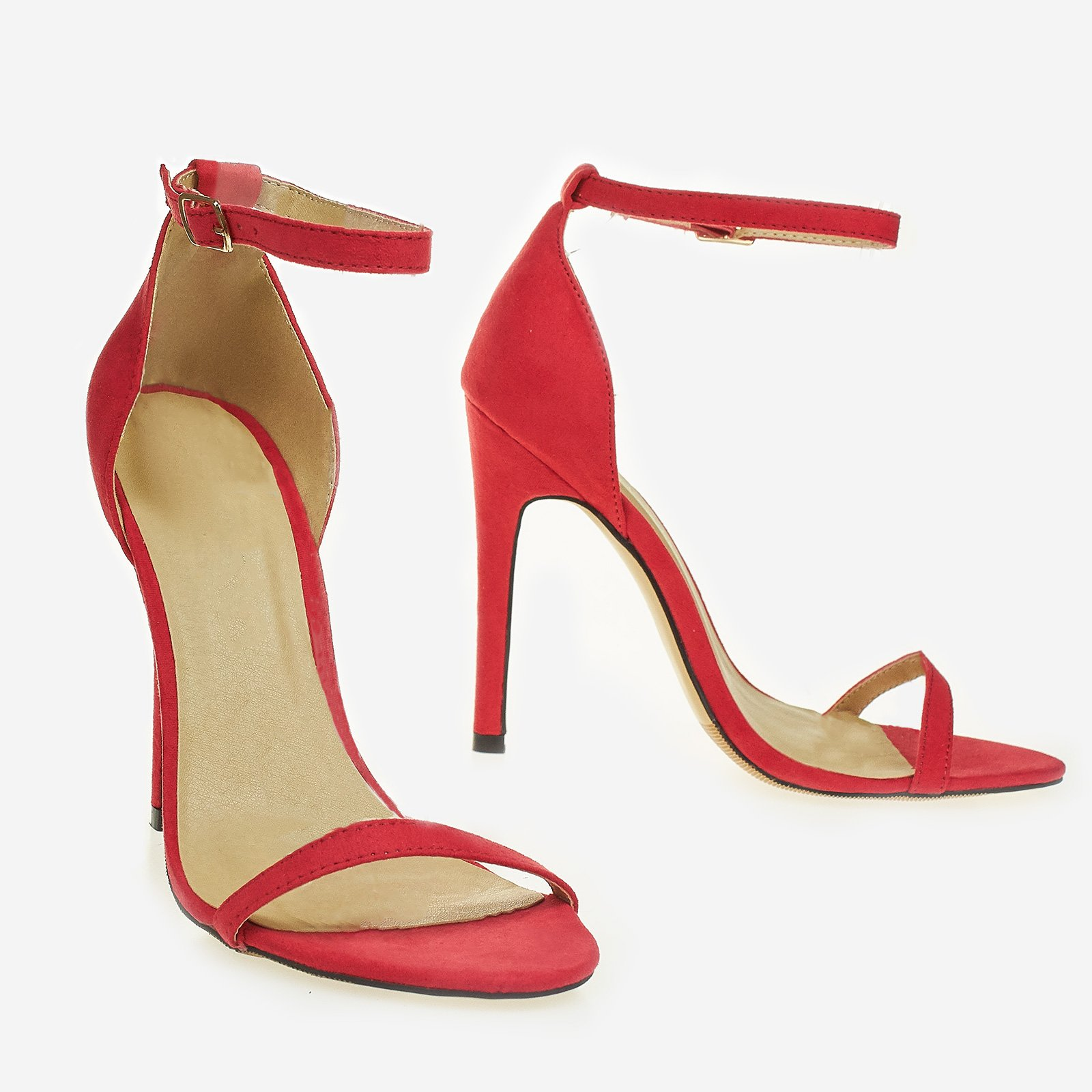 Diaz Barely There Heel In Coral Faux Suede