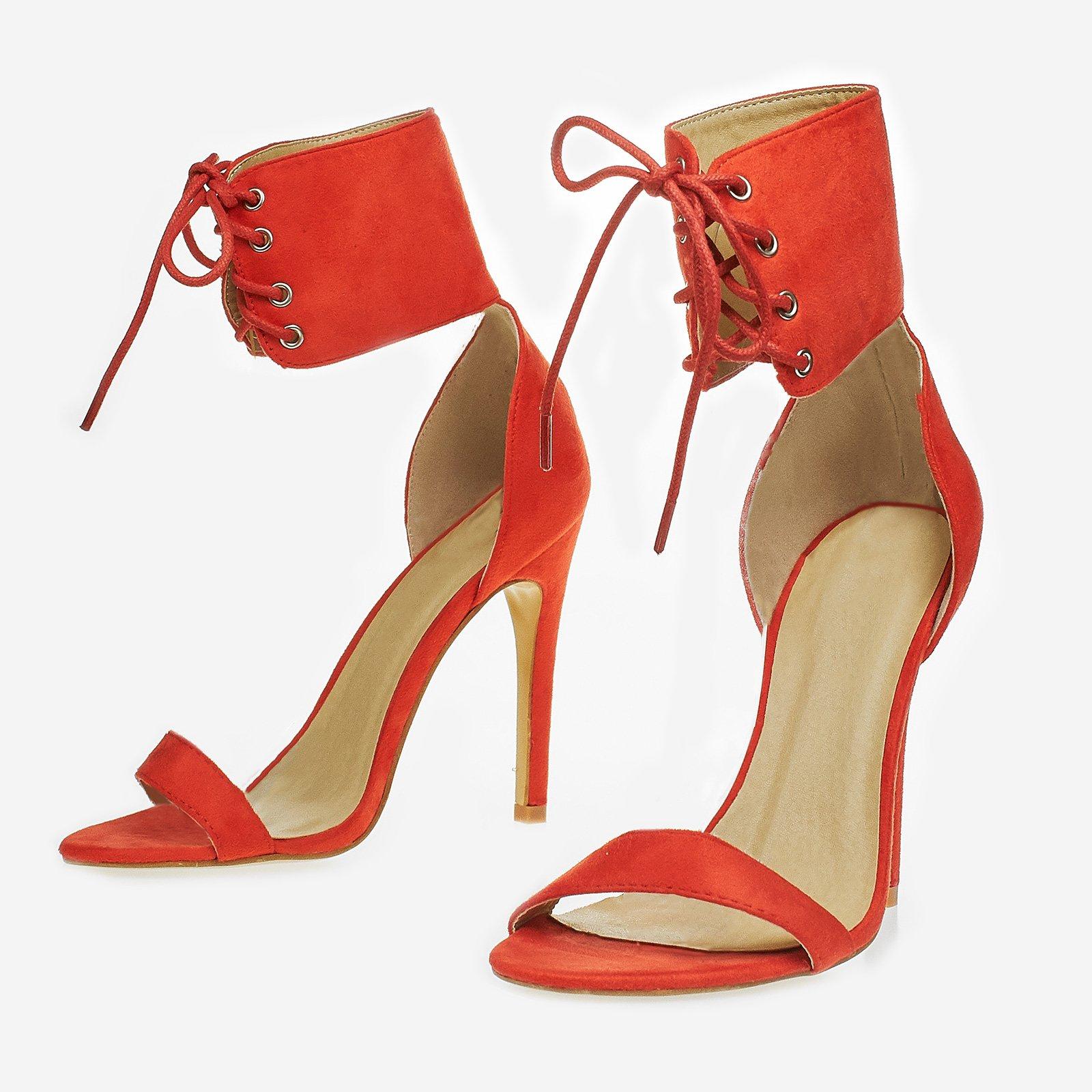 Lulu Lace Up Heel In Orange Faux Suede