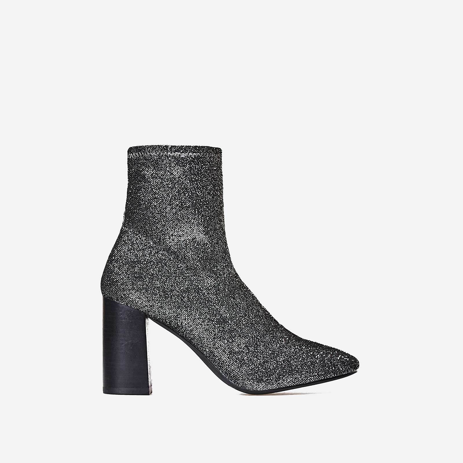 Electra Block Heel Ankle Boot In Metallic Silver Knit