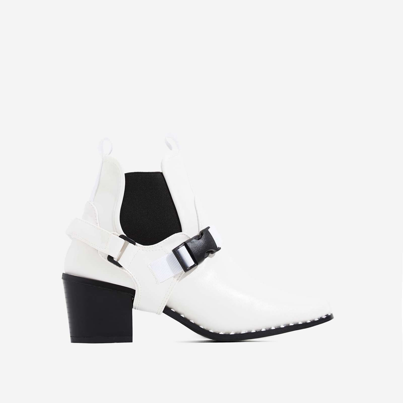 Hotshot White Lycra Trim Studded Ankle Biker Boot In White Faux Leather