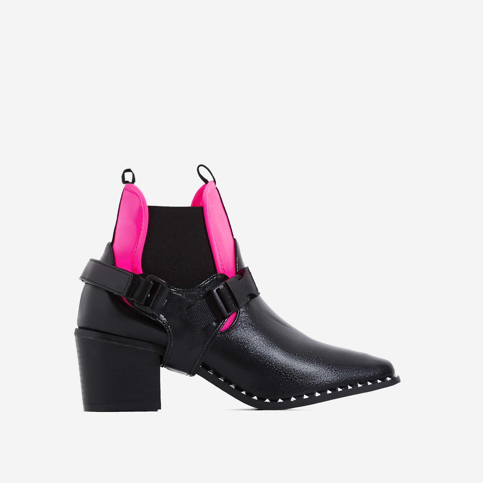 Hotshot Pink Lycra Trim Studded Ankle Biker Boot In Black Faux Leather