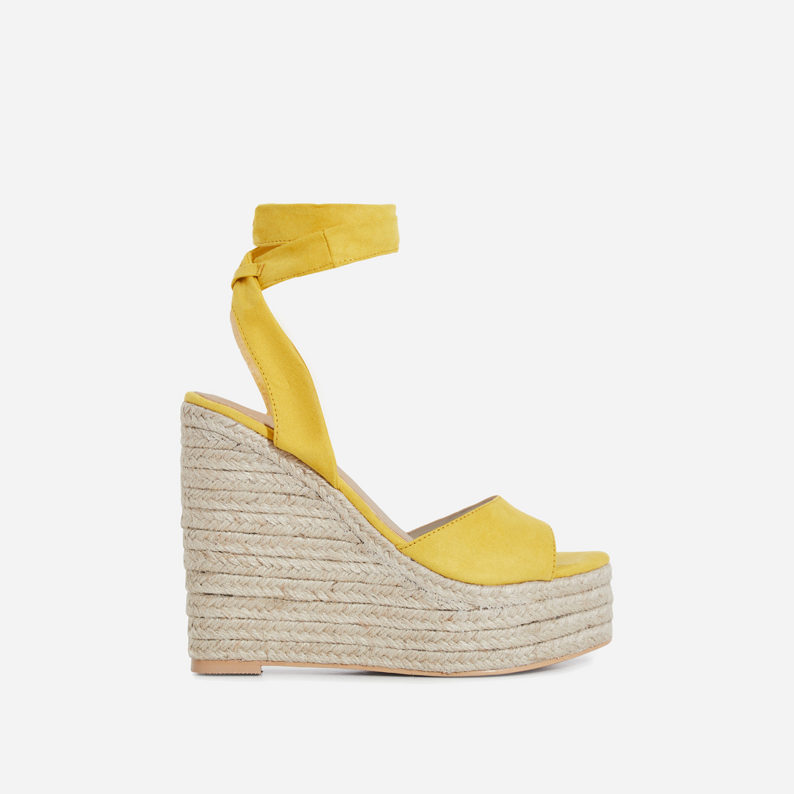 Hugo Lace Up Espadrille Wedge Platform Heel In Yellow Faux Suede
