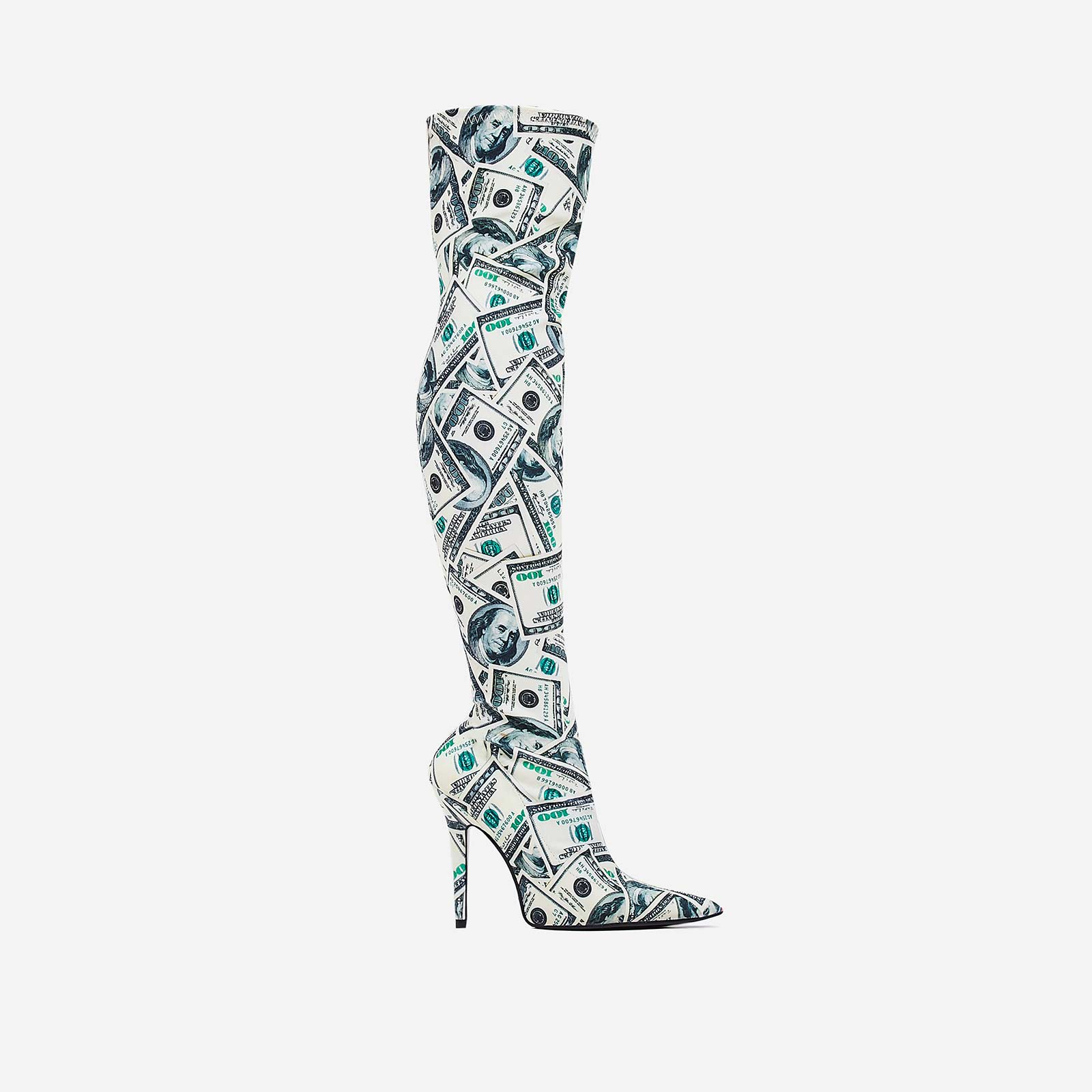 Hundred Thigh High Long Boot In Dollar Print Lycra