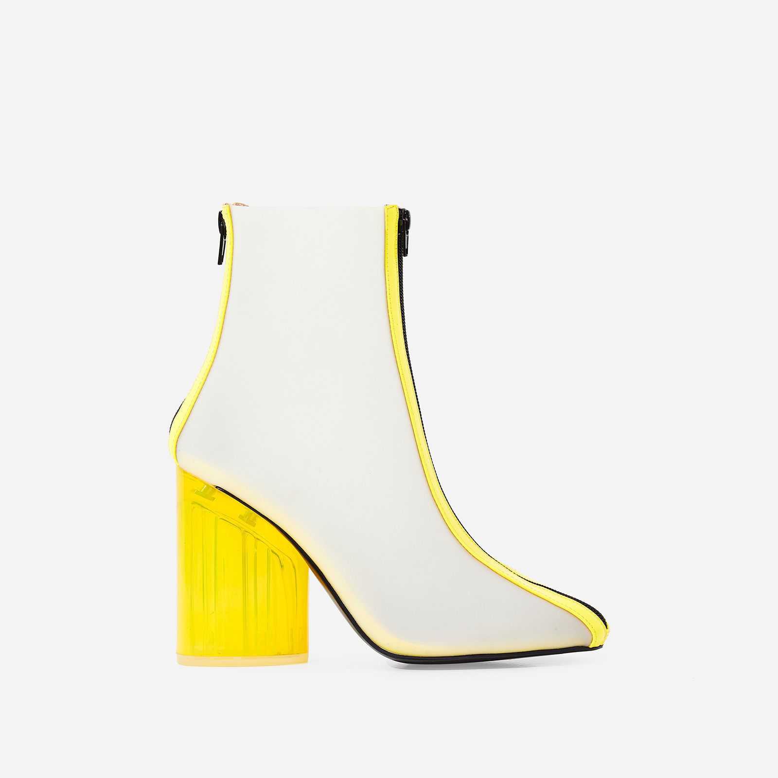 Ice Frosted Perspex Ankle Boot In Neon Yellow Patent