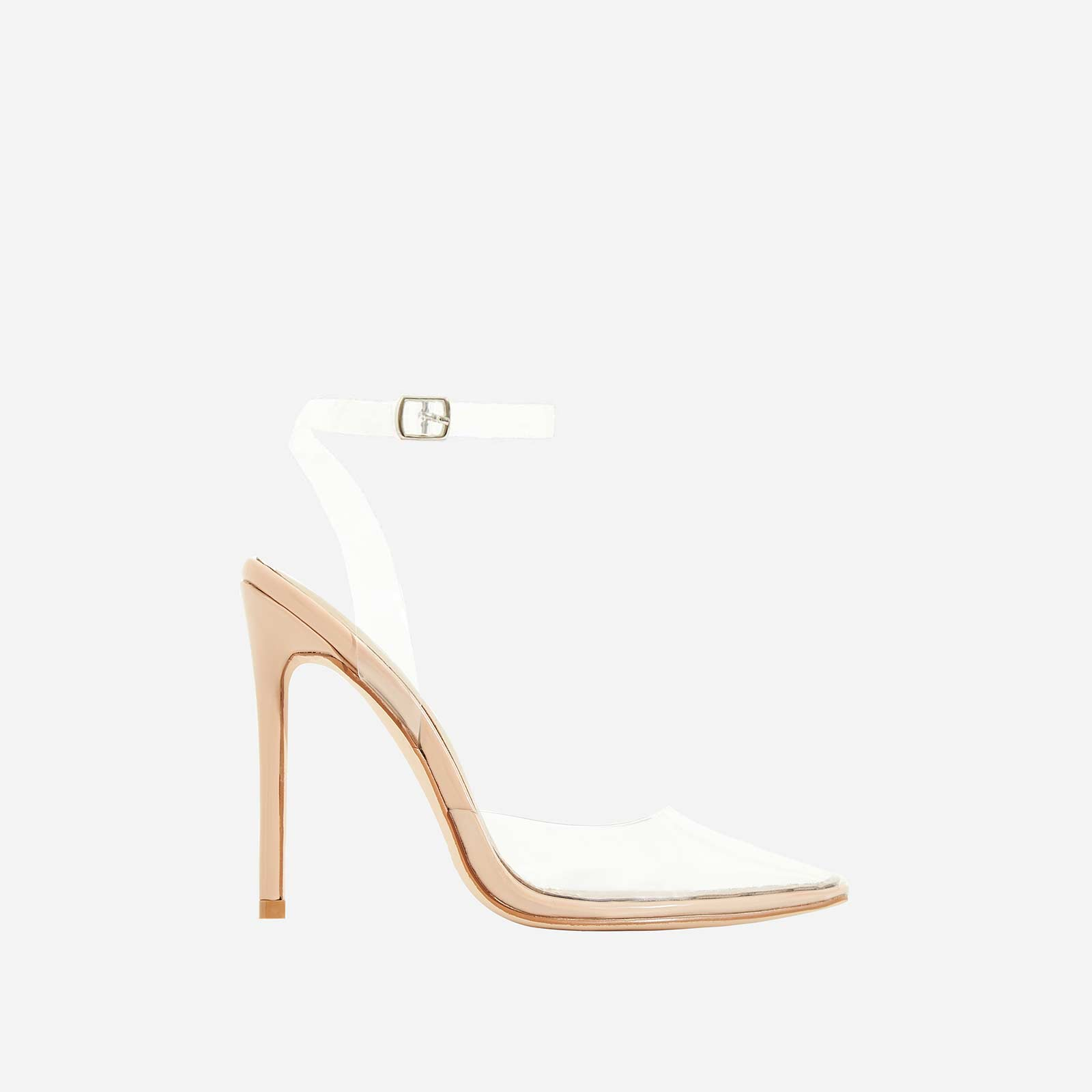 Icon Perspex Barely There Heel In Nude Patent