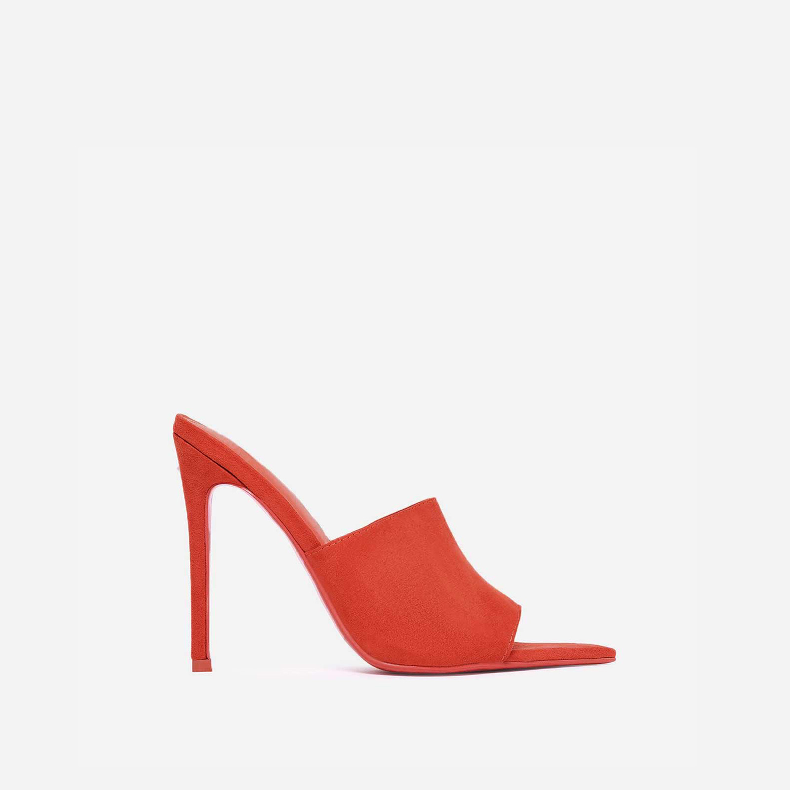 Cece Pointed Peep Toe Mule In Orange Faux Suede