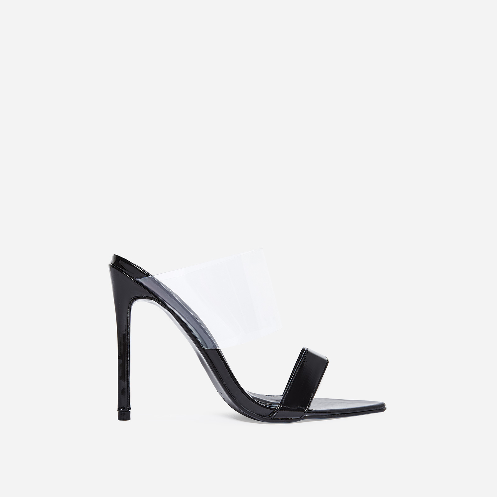 Dream Pointed Perspex Mule In Black Patent