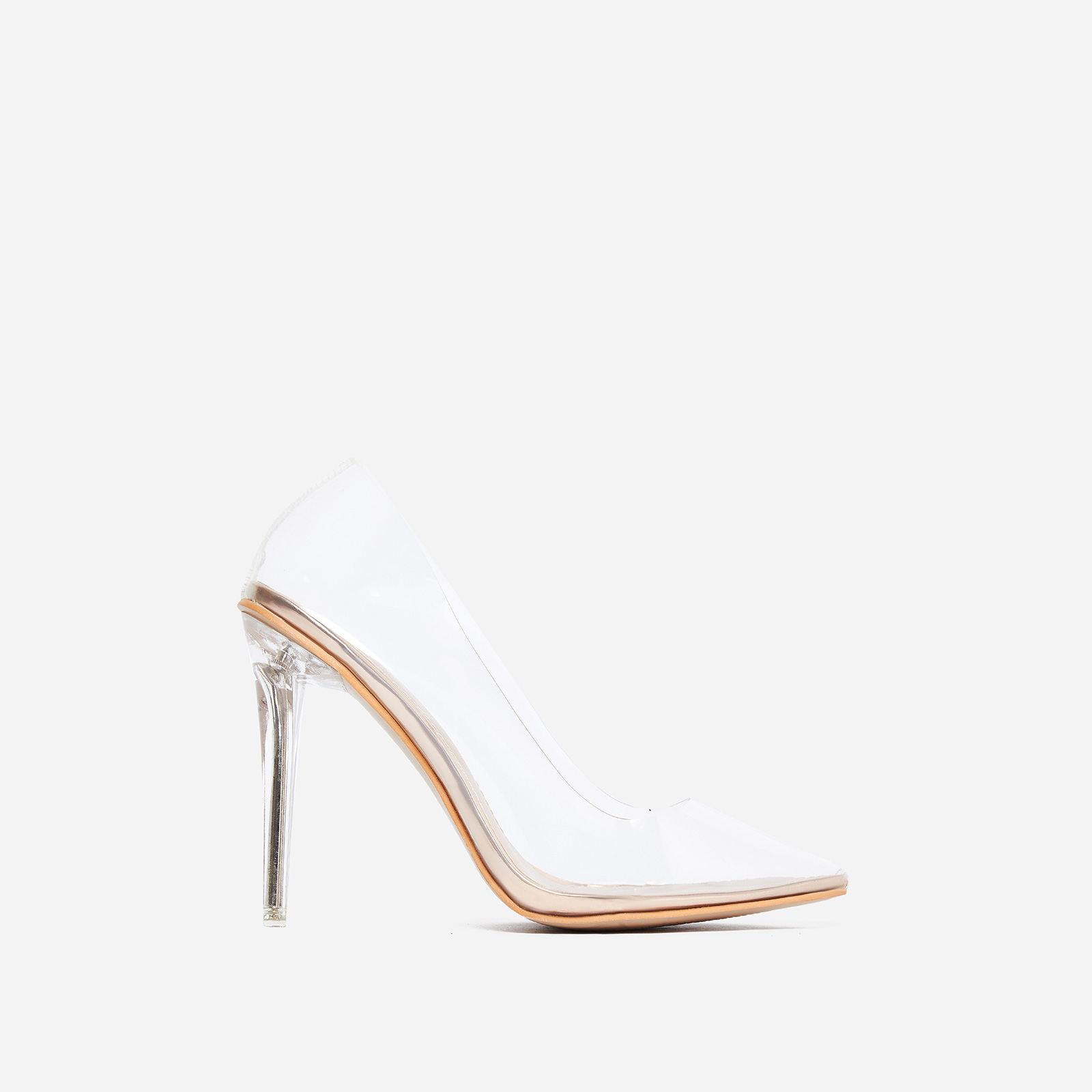 a8b266f69e21 Virginia Perspex Court Heel In Rose Gold Patent