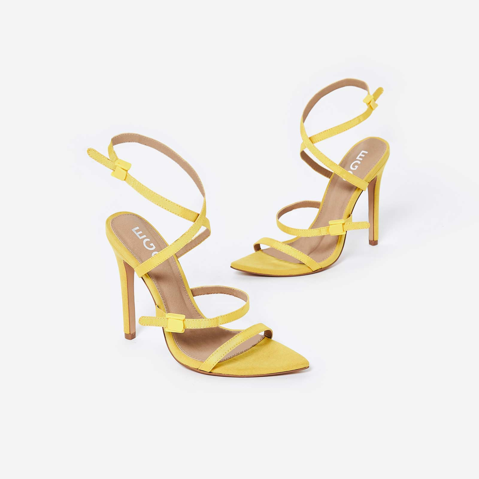 Hana Strappy Heel In Yellow Faux Suede