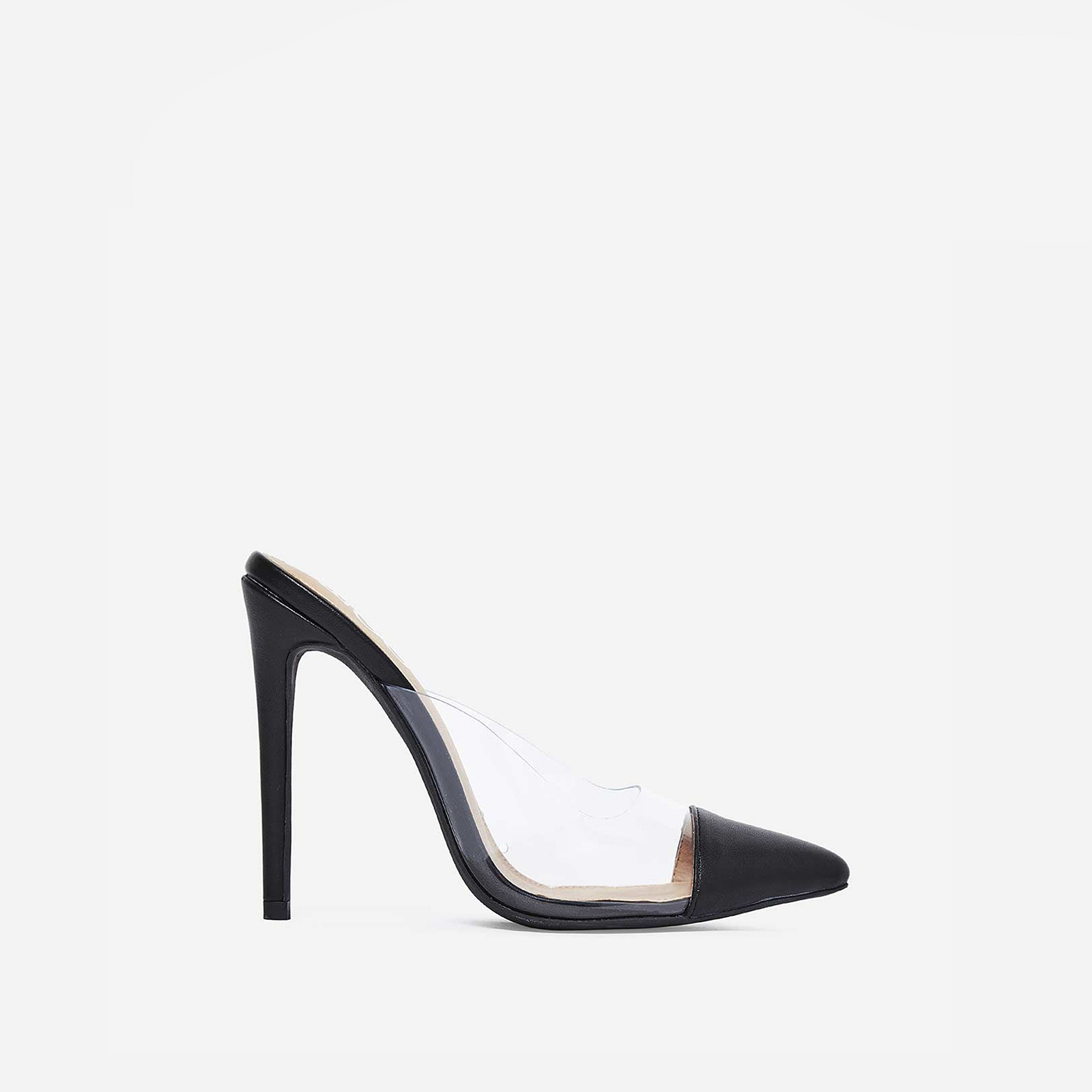 Korra Closed Pointed Toe Perspex Mule In Black Faux Leather