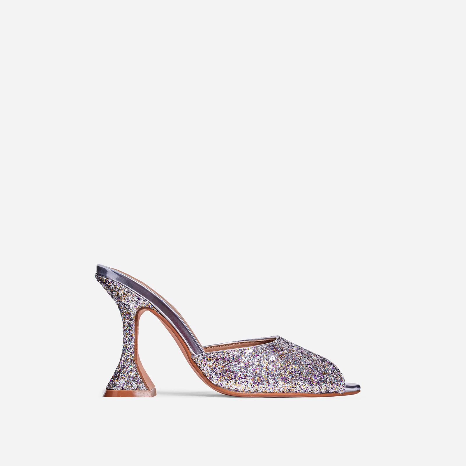 Jetset Peep Toe Pyramid Heel Mule In Silver Glitter