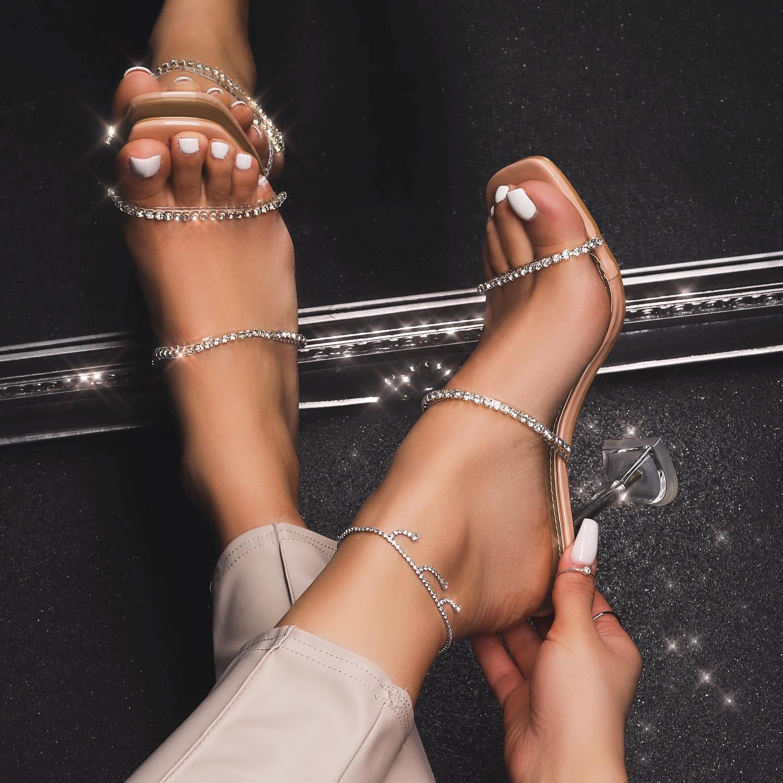 Dreams Diamante Detail Clear Perspex Pyramid Heel Mule In Nude Patent