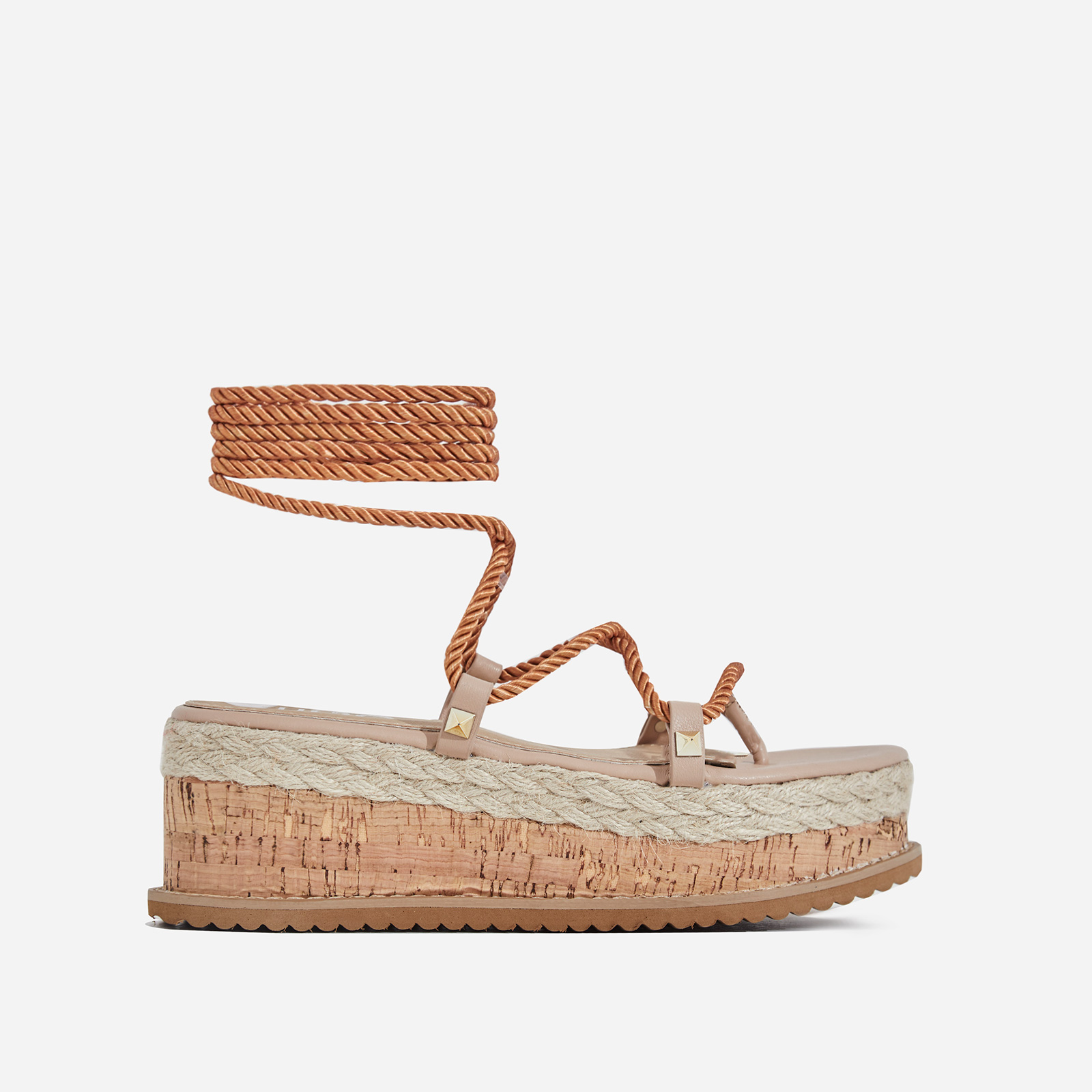 India Studded Detail Espadrille Flatform In Nude Rope