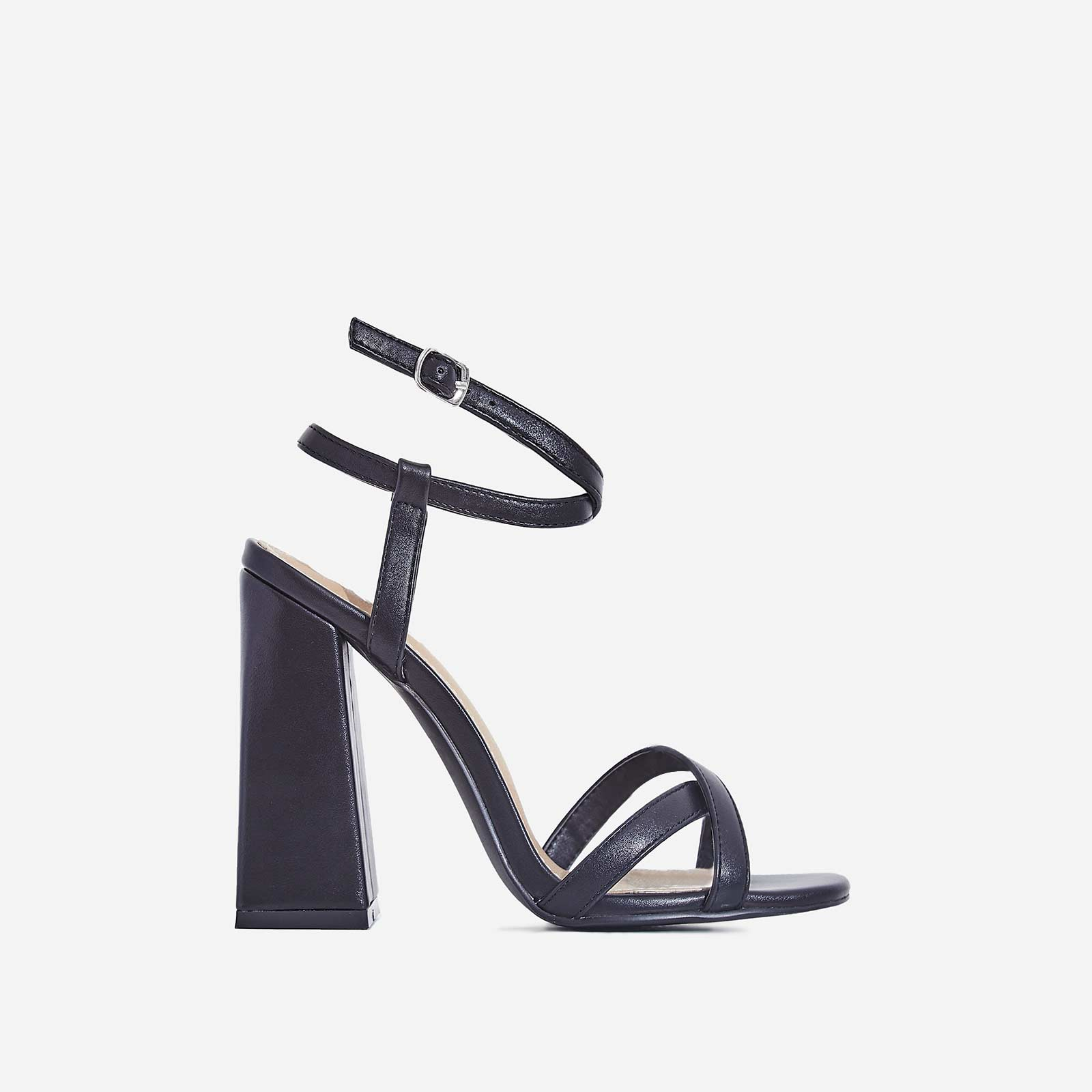 Iris Flared Block Heel In Black Faux Leather