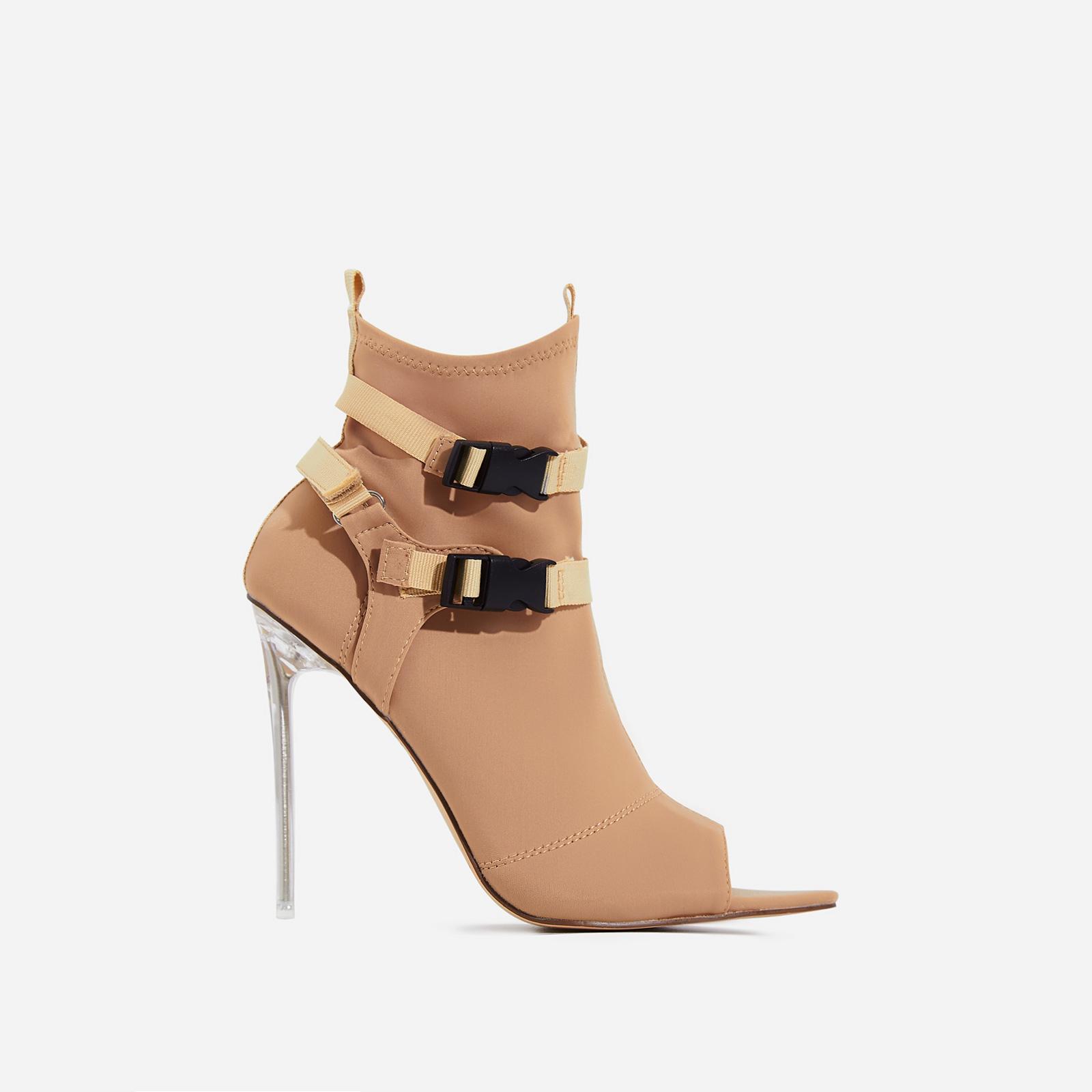 Lit Perspex Buckle Detail Pointed Peep Toe Ankle Sock Boot In Nude Lycra