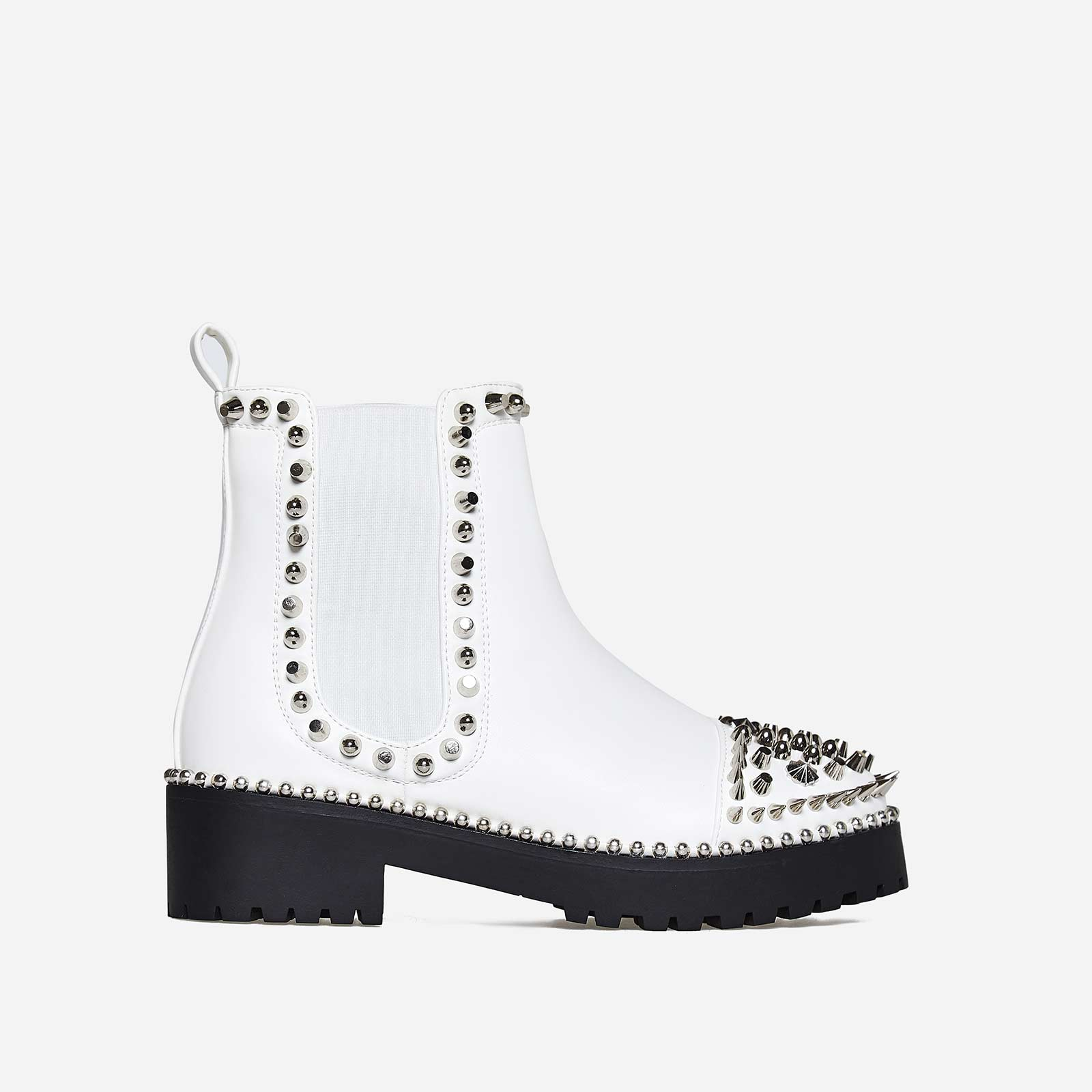 Jack Silver Studded Detail Biker Boot In White Faux Leather