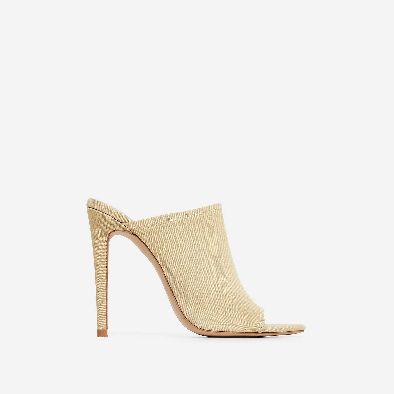 Jade Peep Toe Mule In Nude Canvas