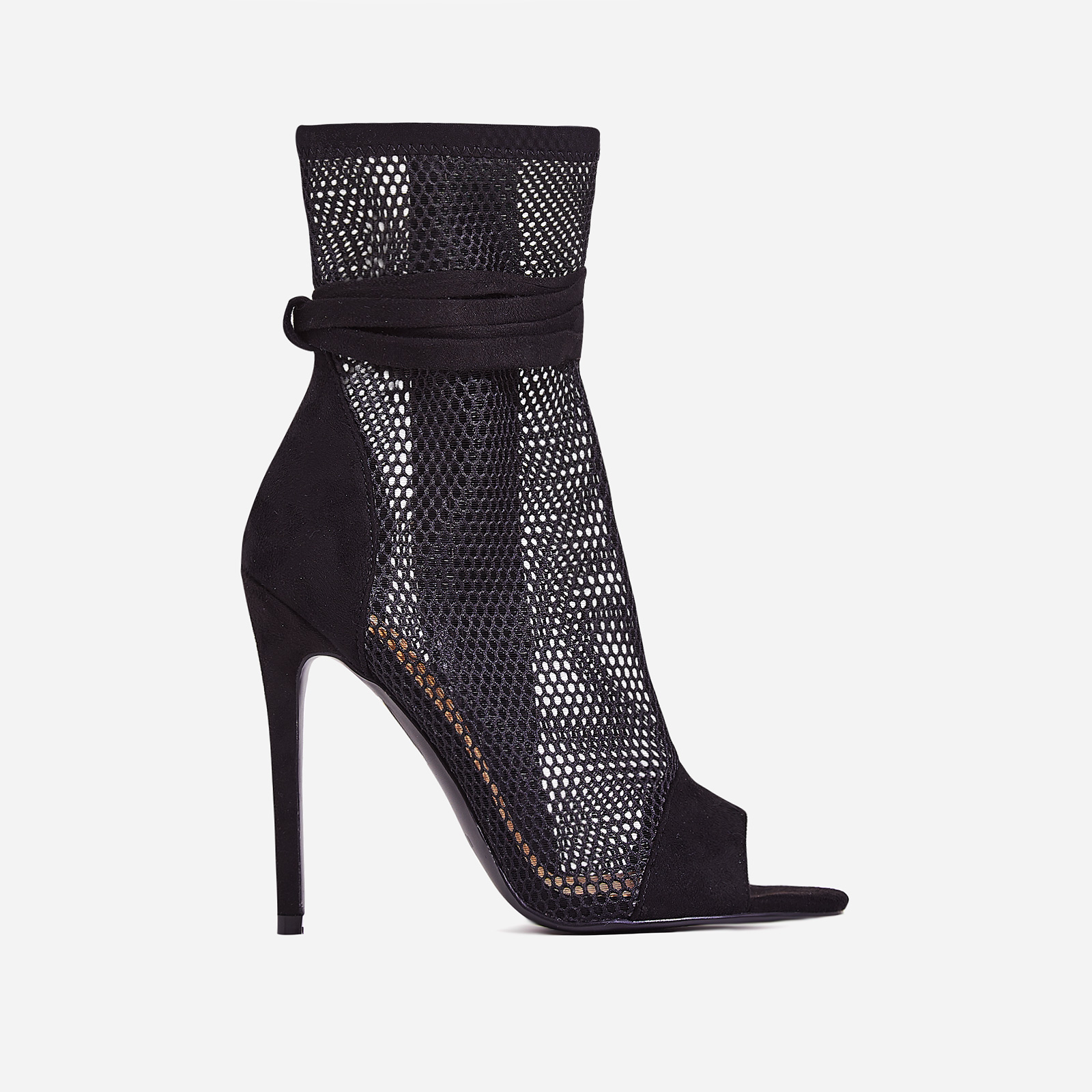Jax Lace Up Mesh Peep Toe Heel In Black Faux Suede