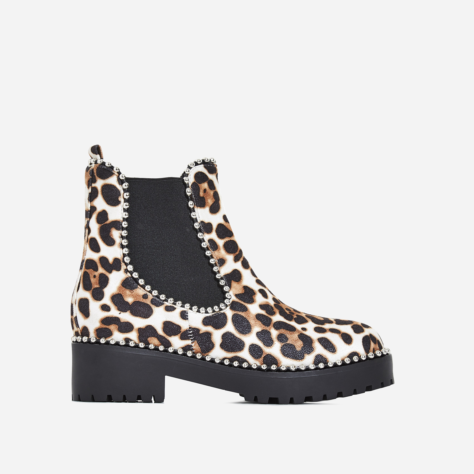 Tilda Studded Detail Ankle Biker Boot In White Leopard Print Faux Suede
