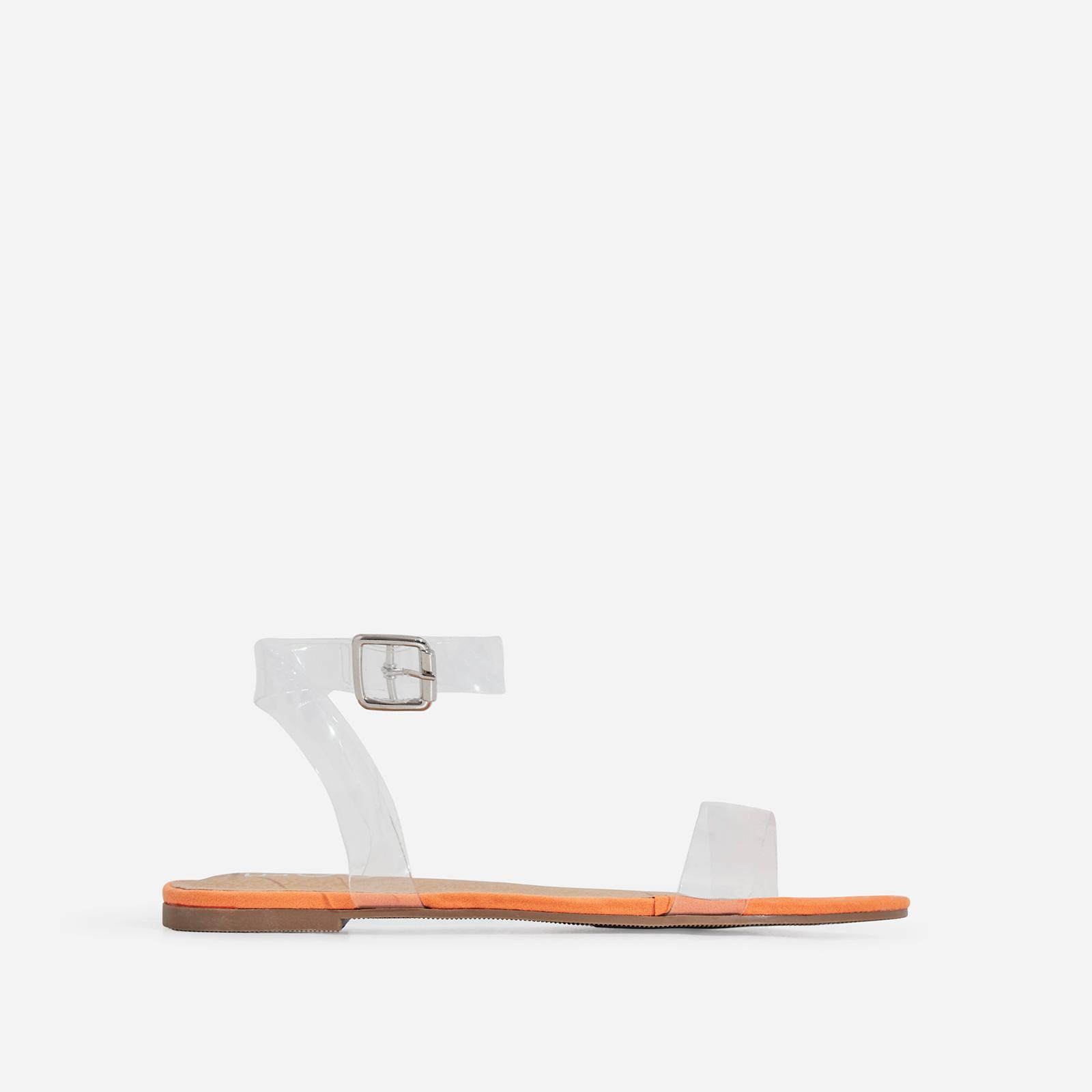 Jil Perspex Flat Sandal In Orange Faux Suede