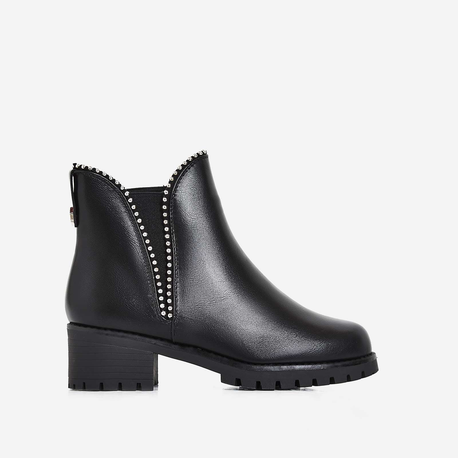 Juana Studded Detail Ankle Biker Boot In Black Faux Leather