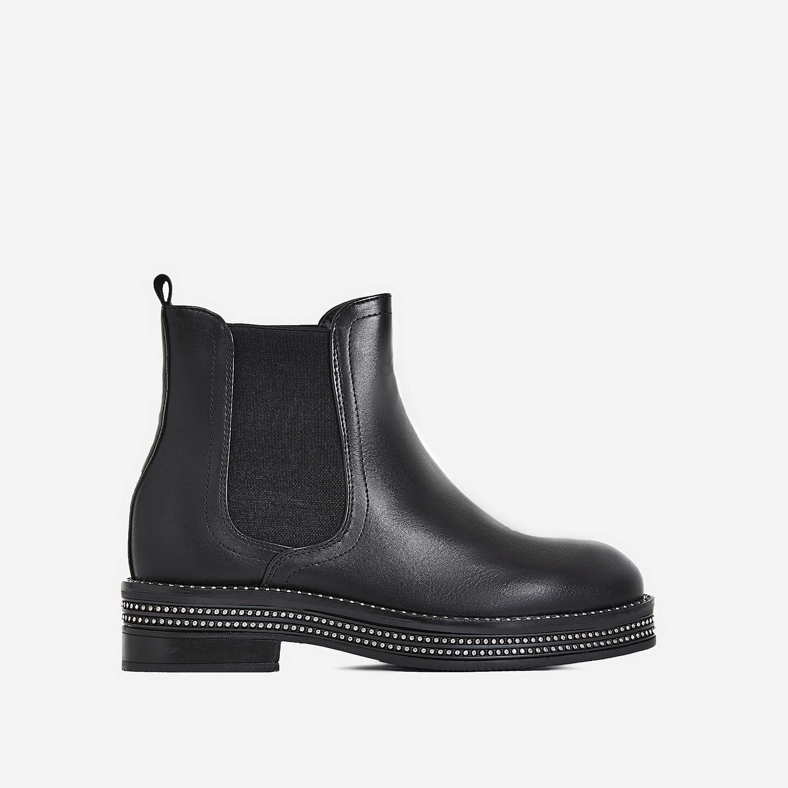 Vita Diamante Detail Ankle Biker Boot In Black Faux Leather