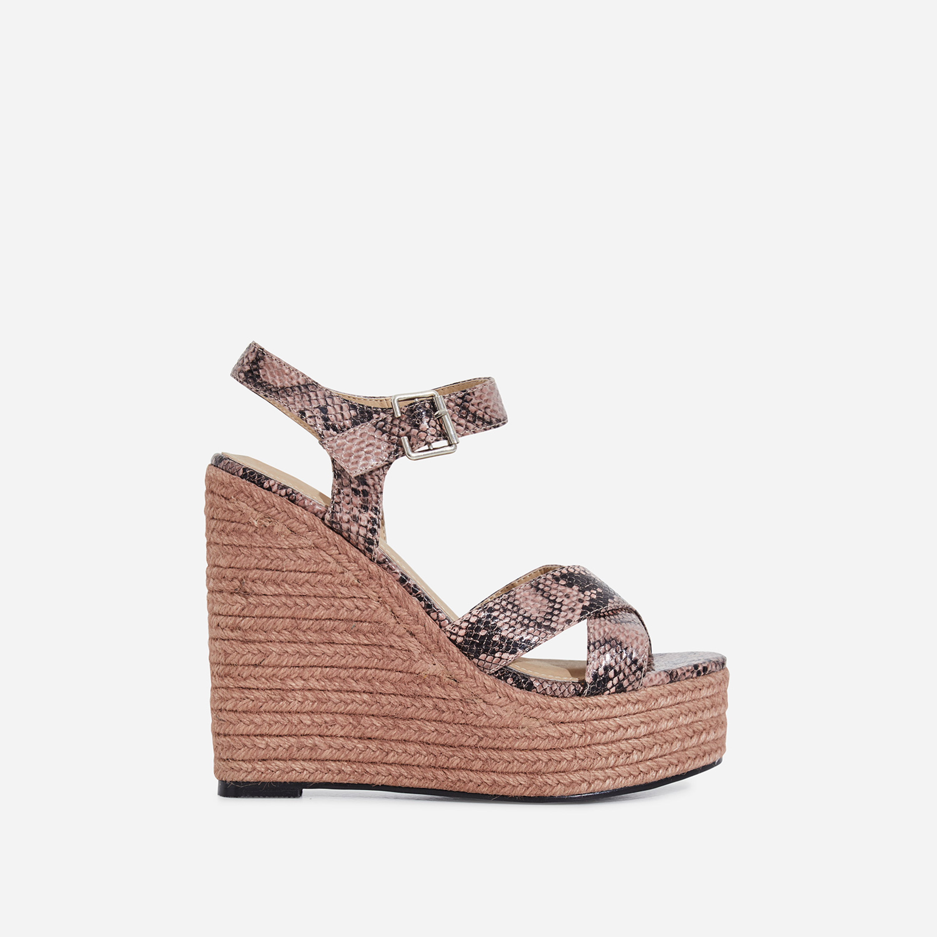 3f18b5a369d Kadi Espadrille Wedge Platform Heel In Pink Snake Faux Leather