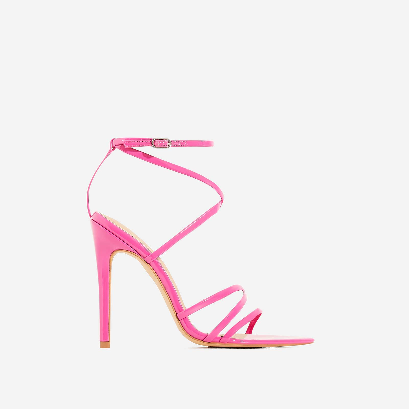 Kaia Pointed Barely There Heel In Fuchsia Patent