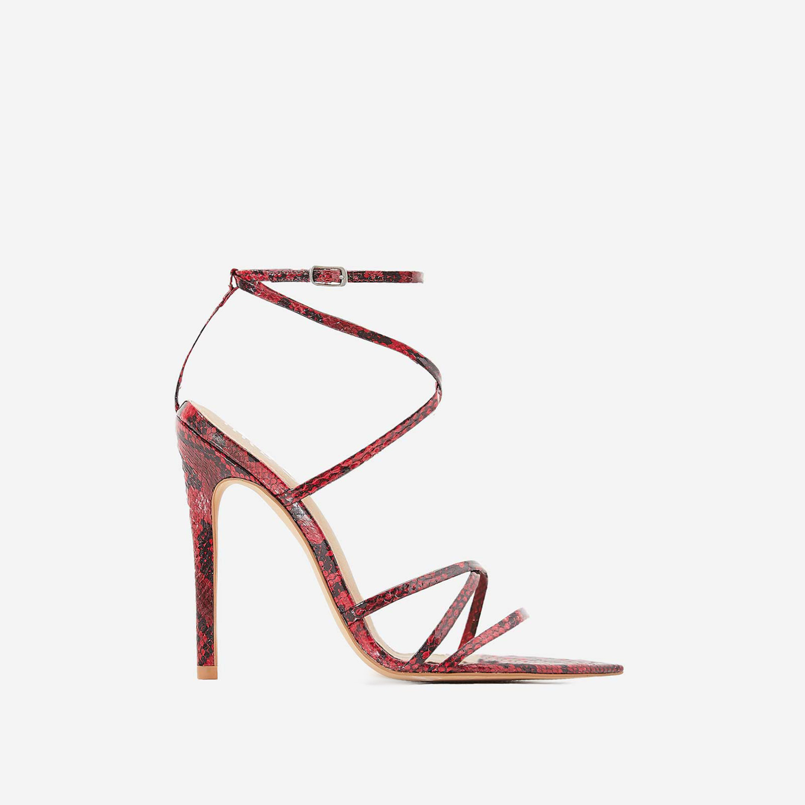 Kaia Pointed Barely There Heel In Red Snake Print Faux Leather