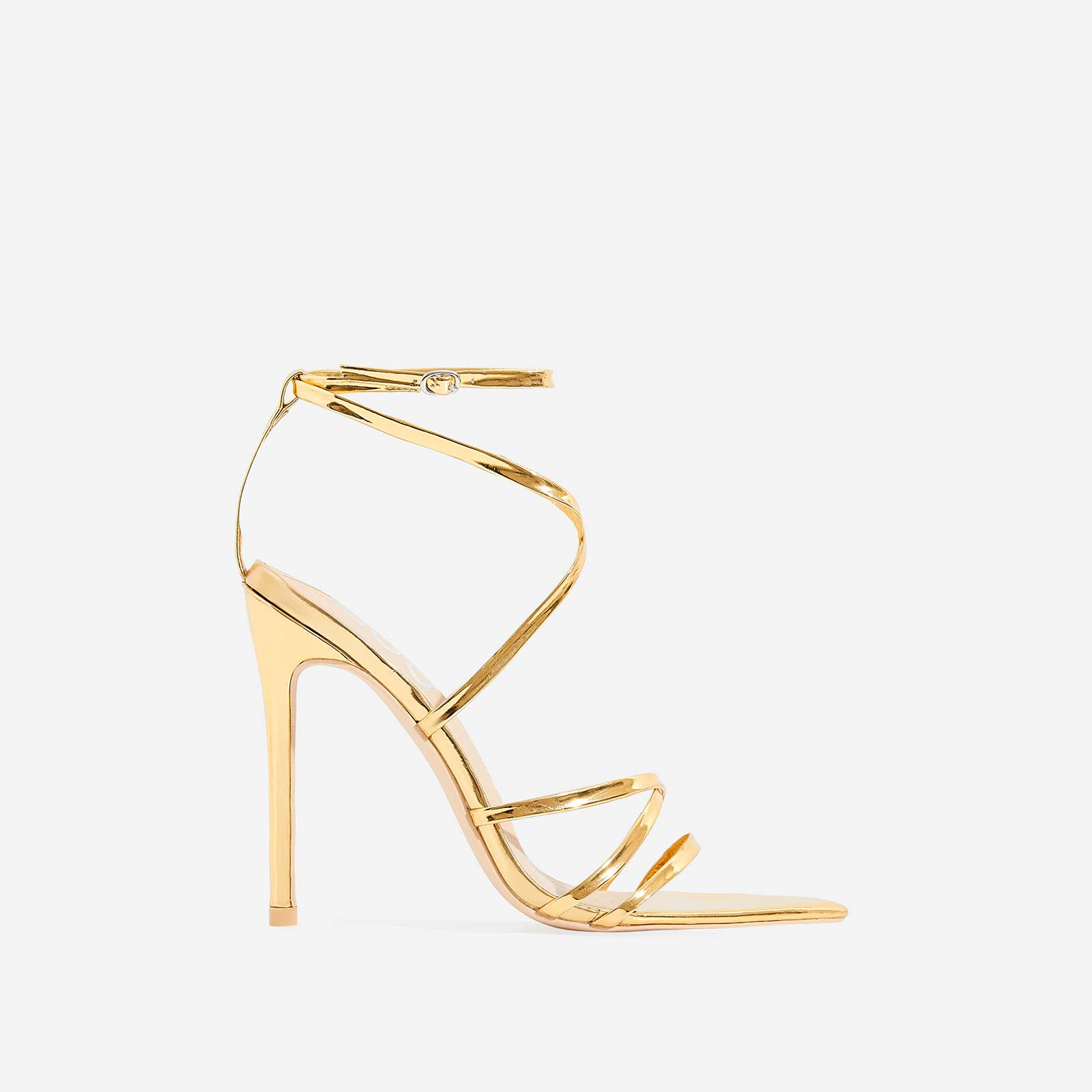 Kaia Pointed Barely There Heel In Gold Patent