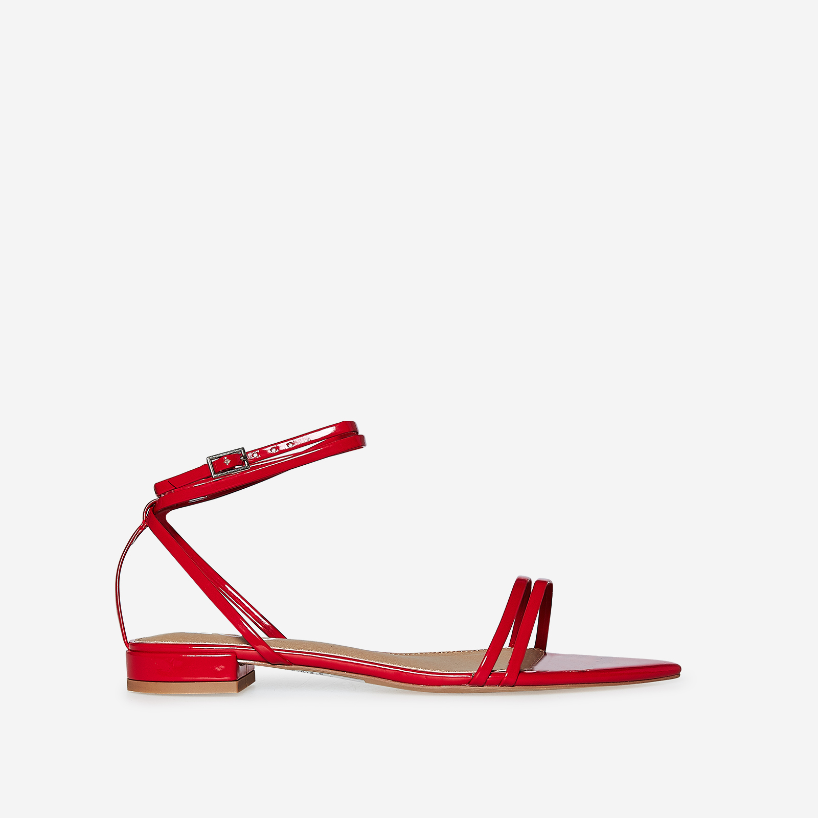 Karla Pointed Toe Sandal In Red Patent