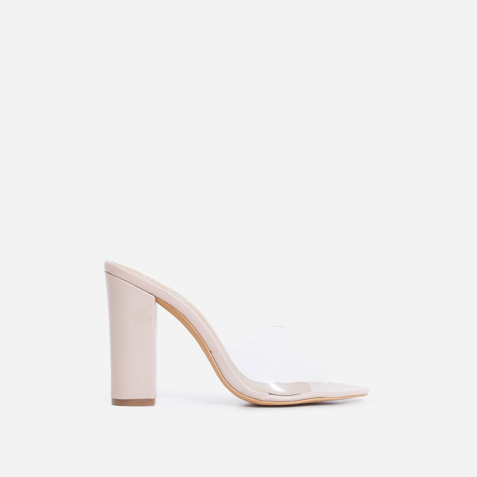 Kalia Peep Toe Perspex Block Heel In Nude Patent