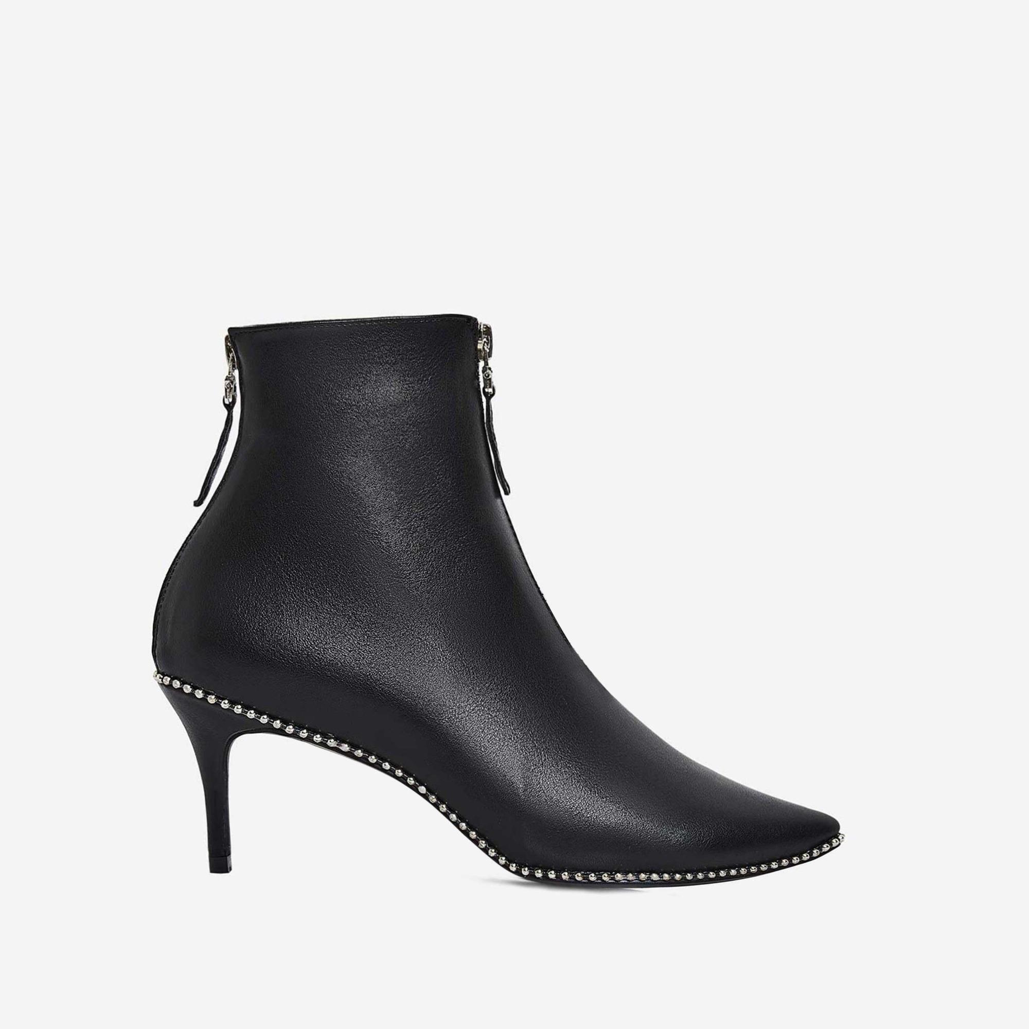 Kasey Studded Detail Kitten Heel Ankle Boot In Black Faux Leather