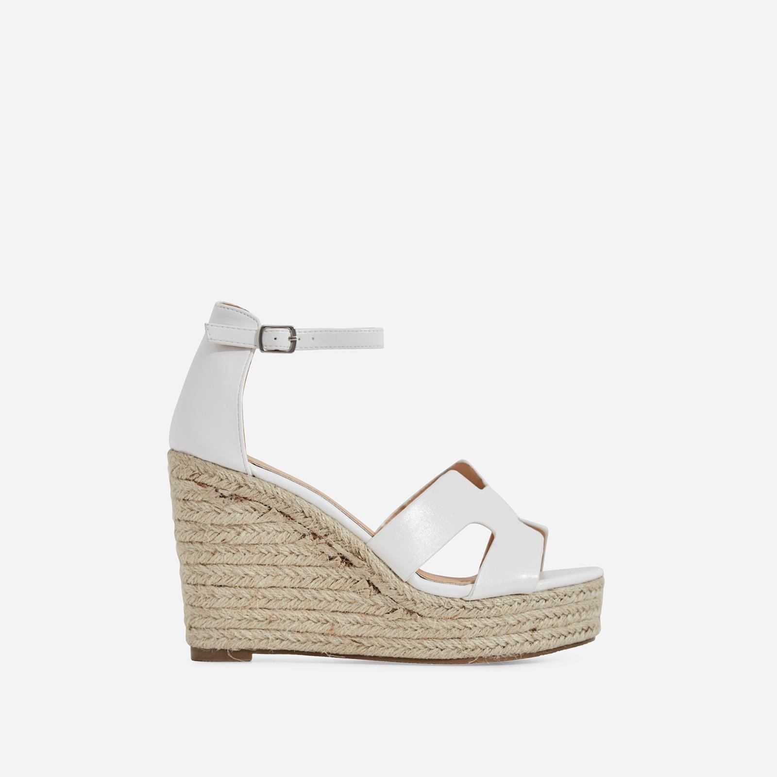 Kayson Platform Espadrille Wedge Block Heel In White Faux Leather