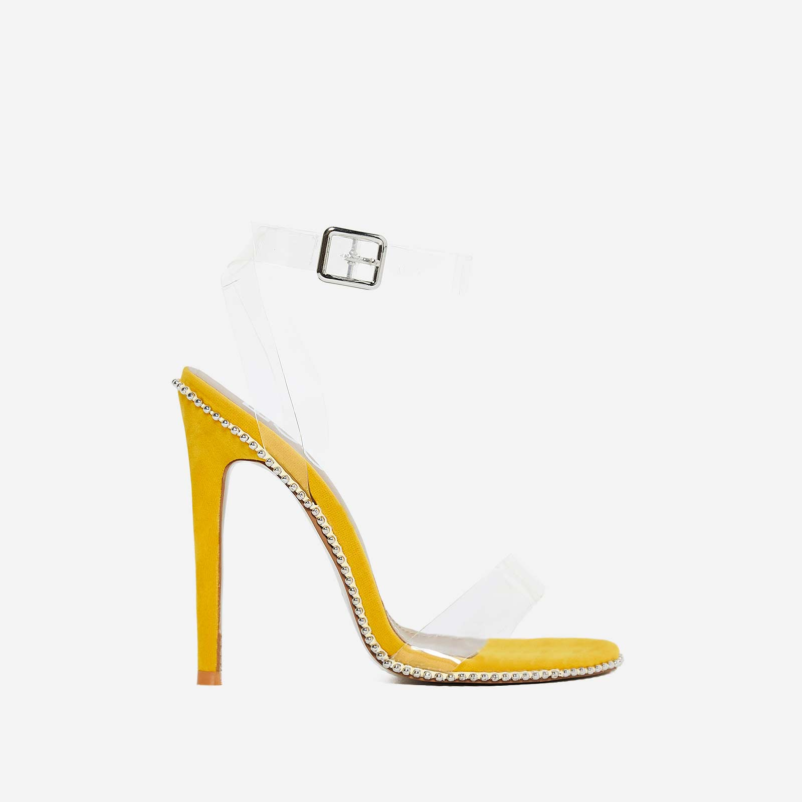 Keely Studded Perspex Heel In Yellow Faux Suede