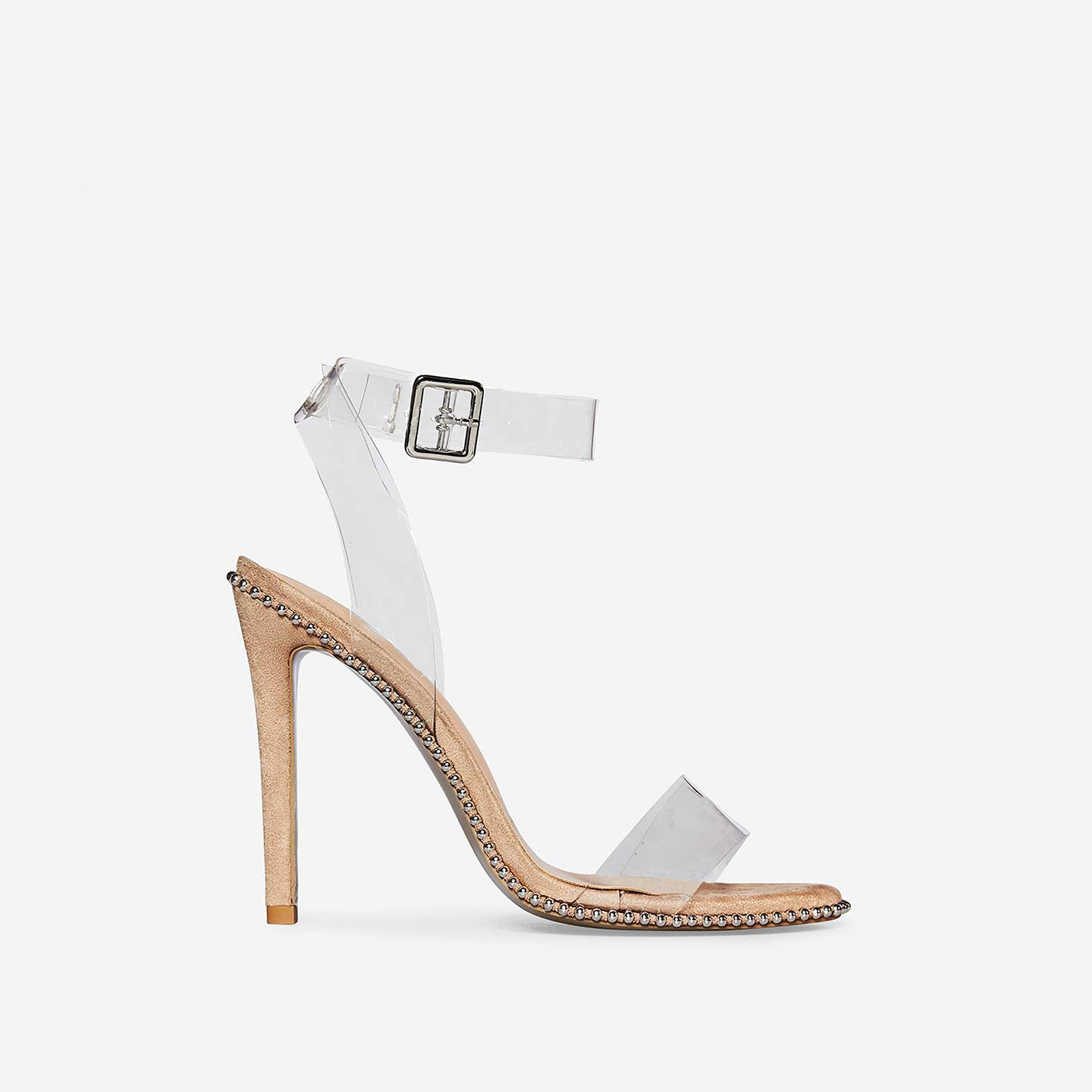 Keely Studded Perspex Heel In Nude Faux Suede