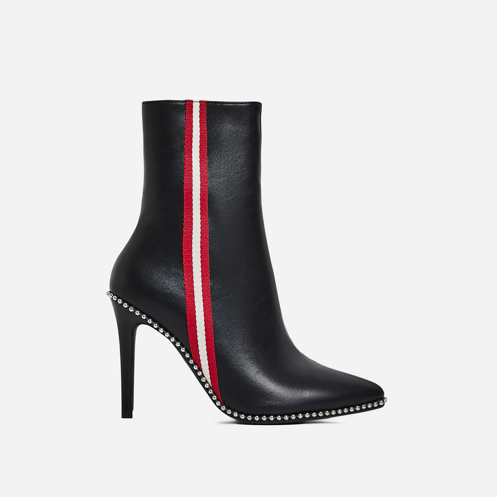 Keke Stripe Detail Ankle Boot In Black Faux Leather