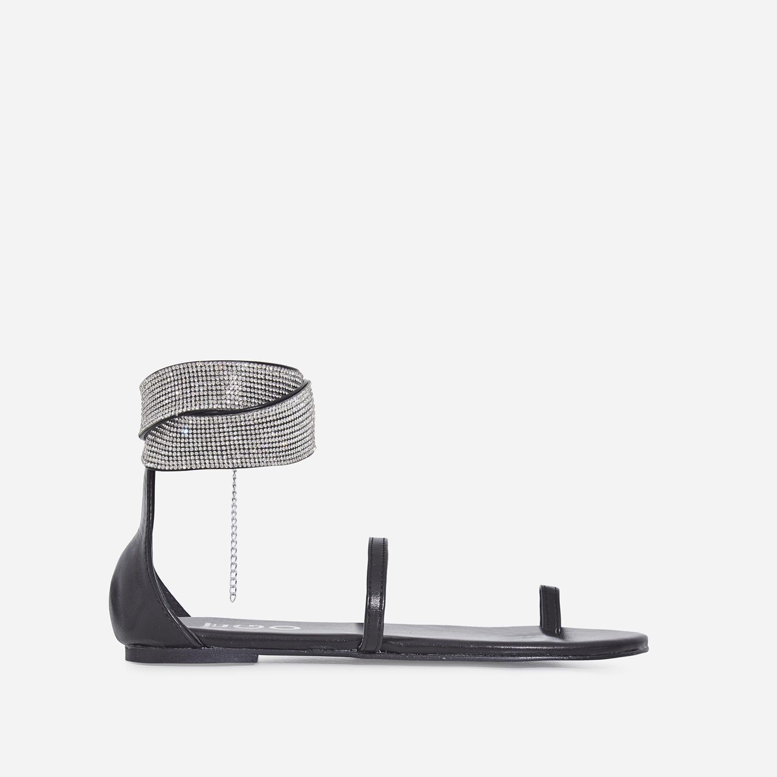 Kelia Diamante Detail Strap Sandal In Black Faux Leather