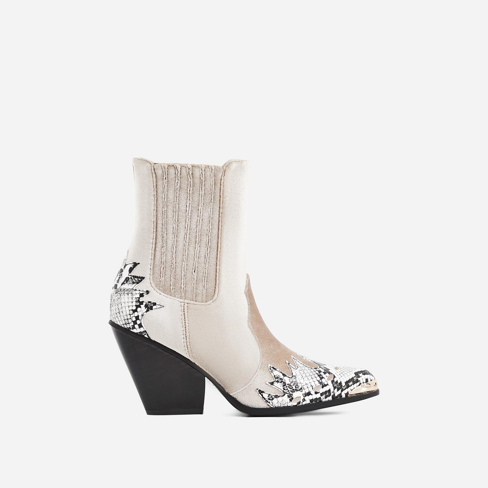 Kelsey Western Ankle Boot In Snake Print Nude Velvet
