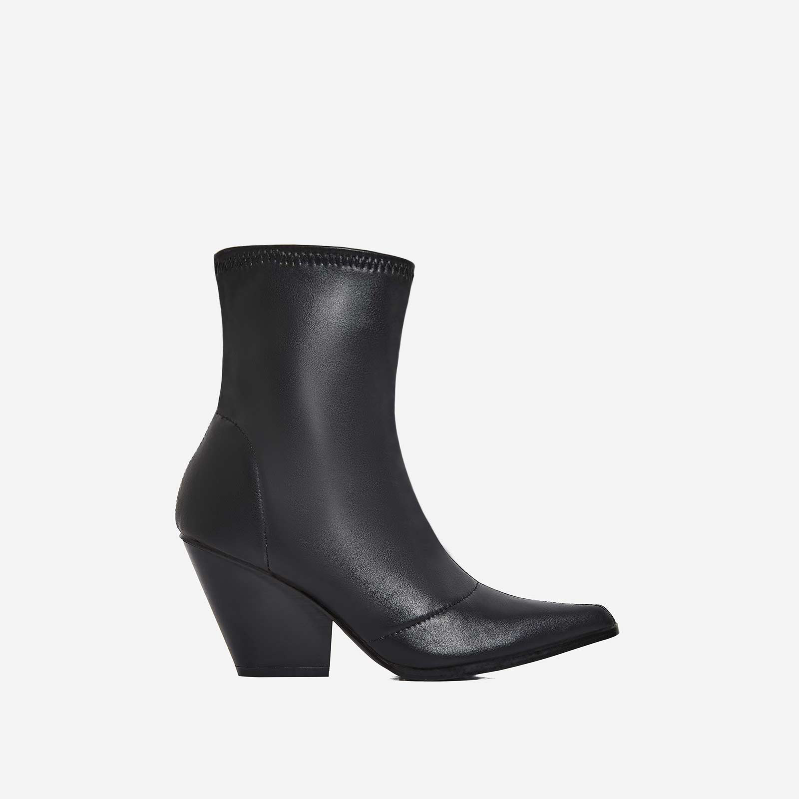 Kelsey Western Ankle Boot In Black Faux Leather