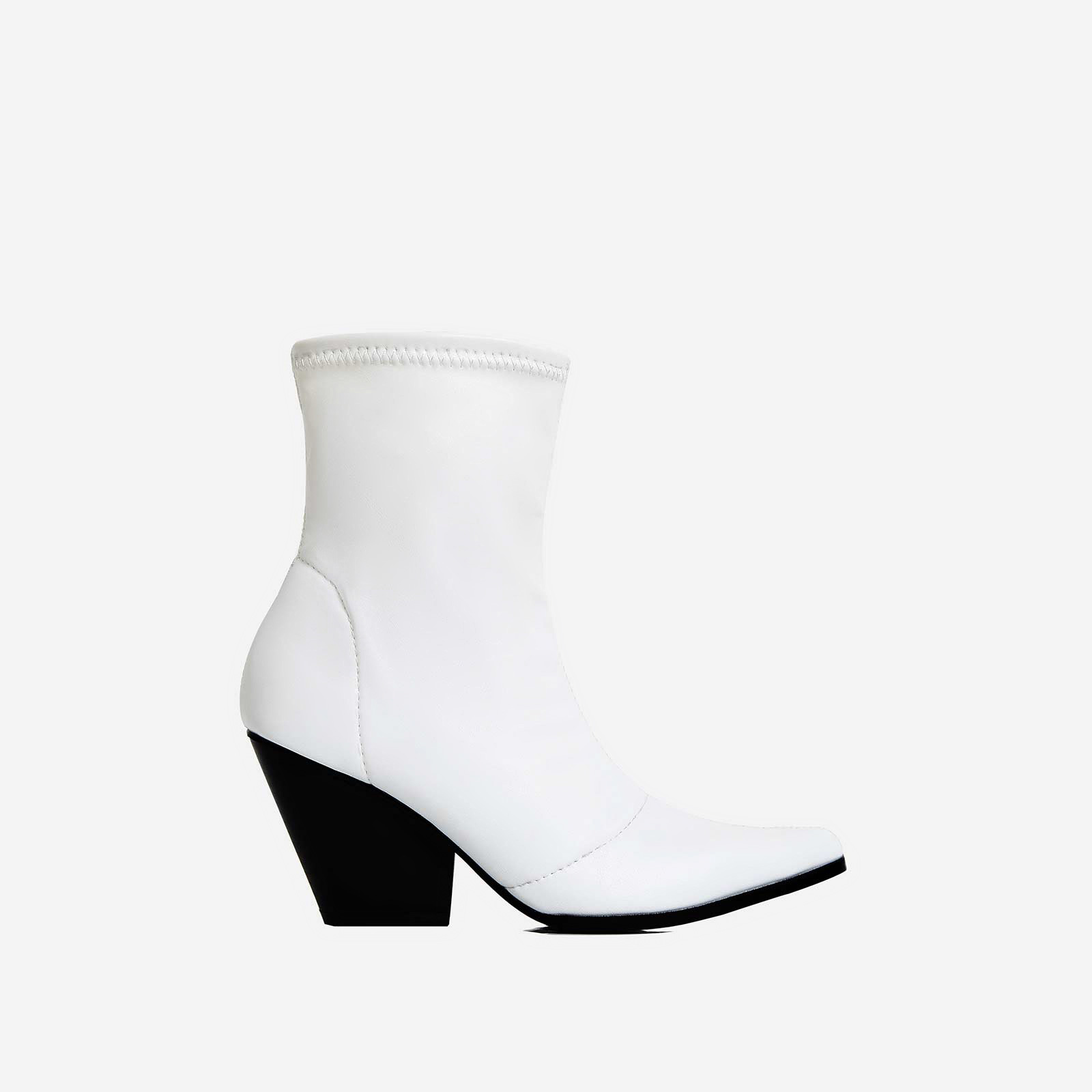 Kelsey Western Ankle Boot In White Faux Leather