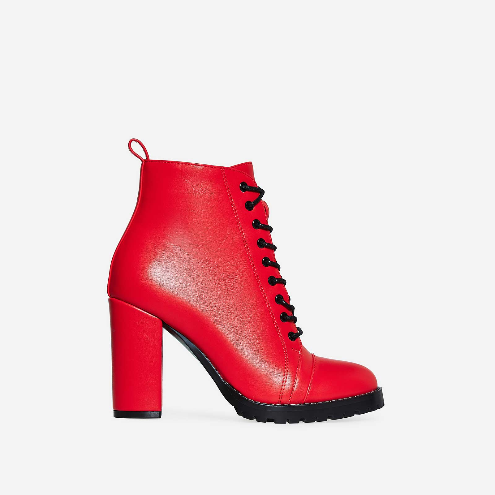 Kennedy Lace Up Platform Biker Boot In Red Faux Leather