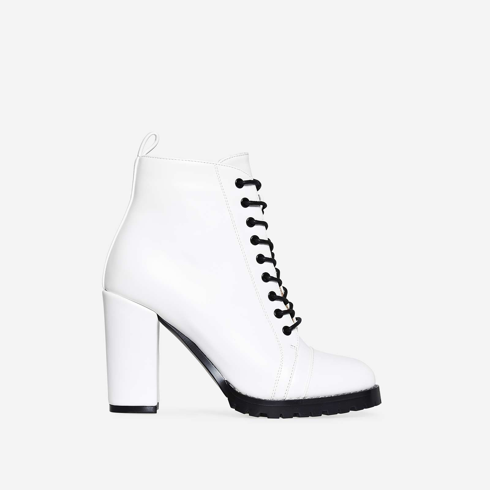 Kennedy Lace Up Platform Biker Boot In White Faux Leather