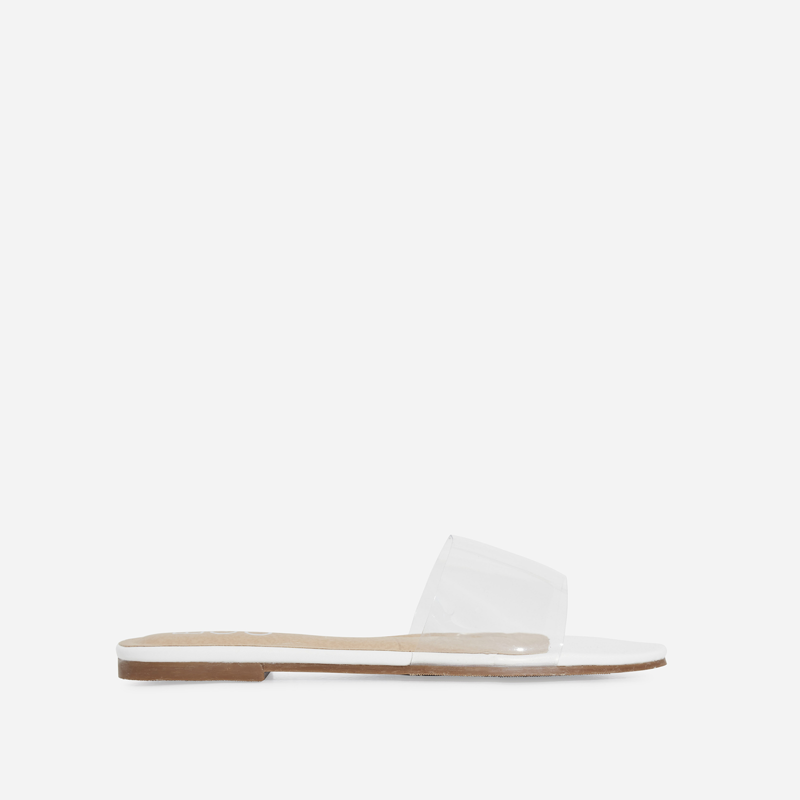 Kerrie Clear Perspex Sandal In White Faux Leather