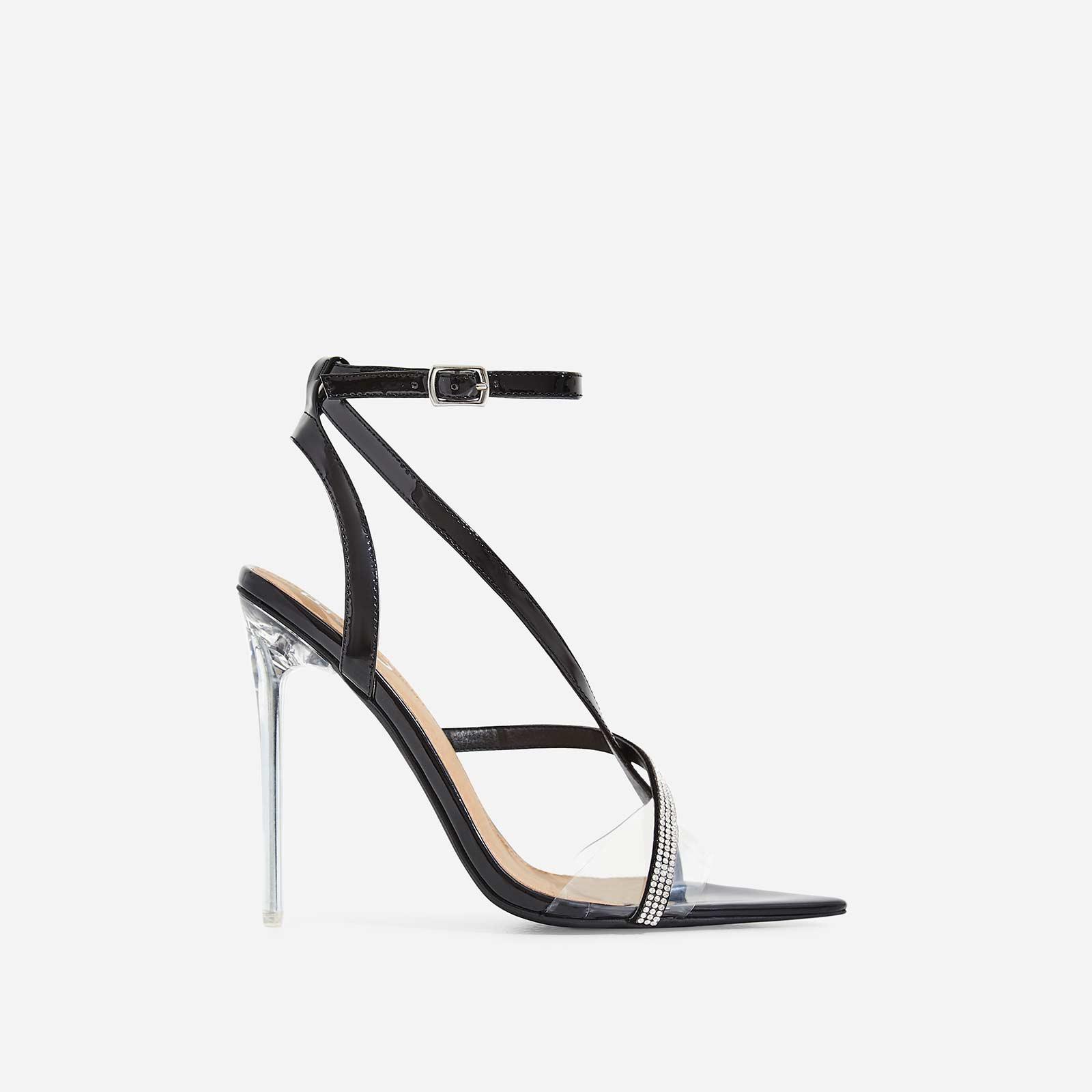 Khloe Dimante Pointed Perspex Heel In Black Patent