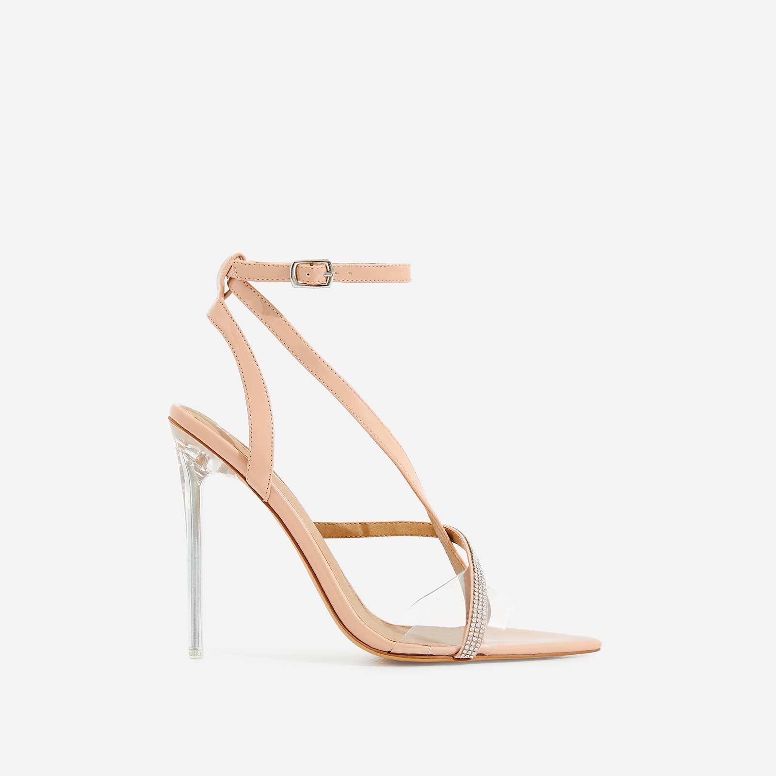 Khloe Dimante Pointed Perspex Heel In Nude Patent
